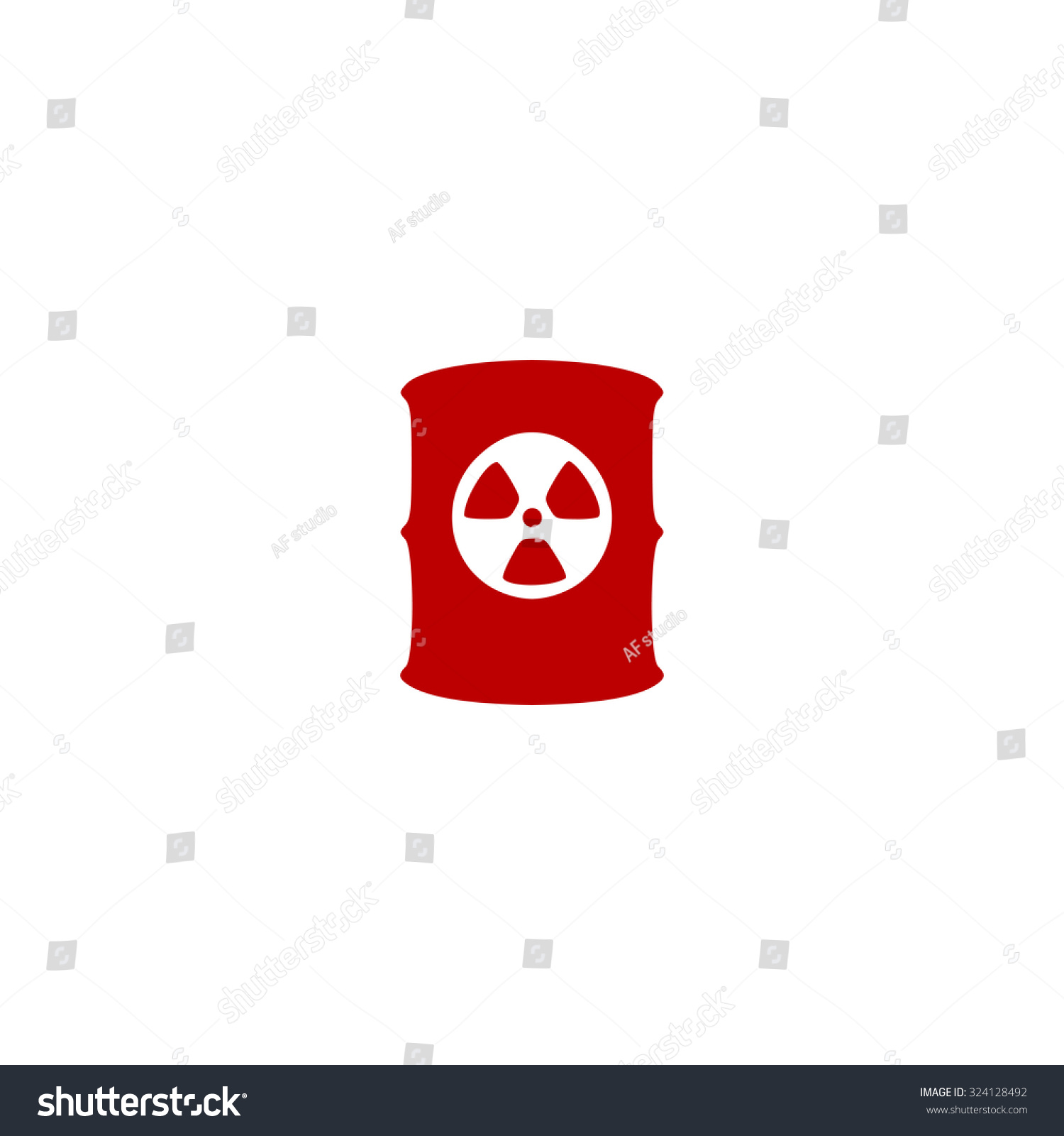 Container Radioactive Waste Red Flat Icon Stock Illustration