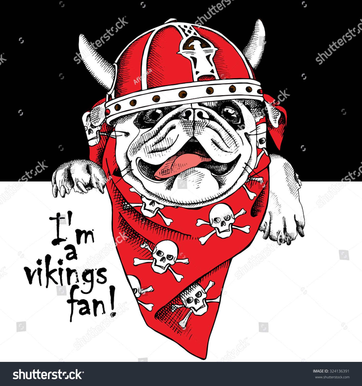 portrait dog pug red viking helmet stock vector 324136391