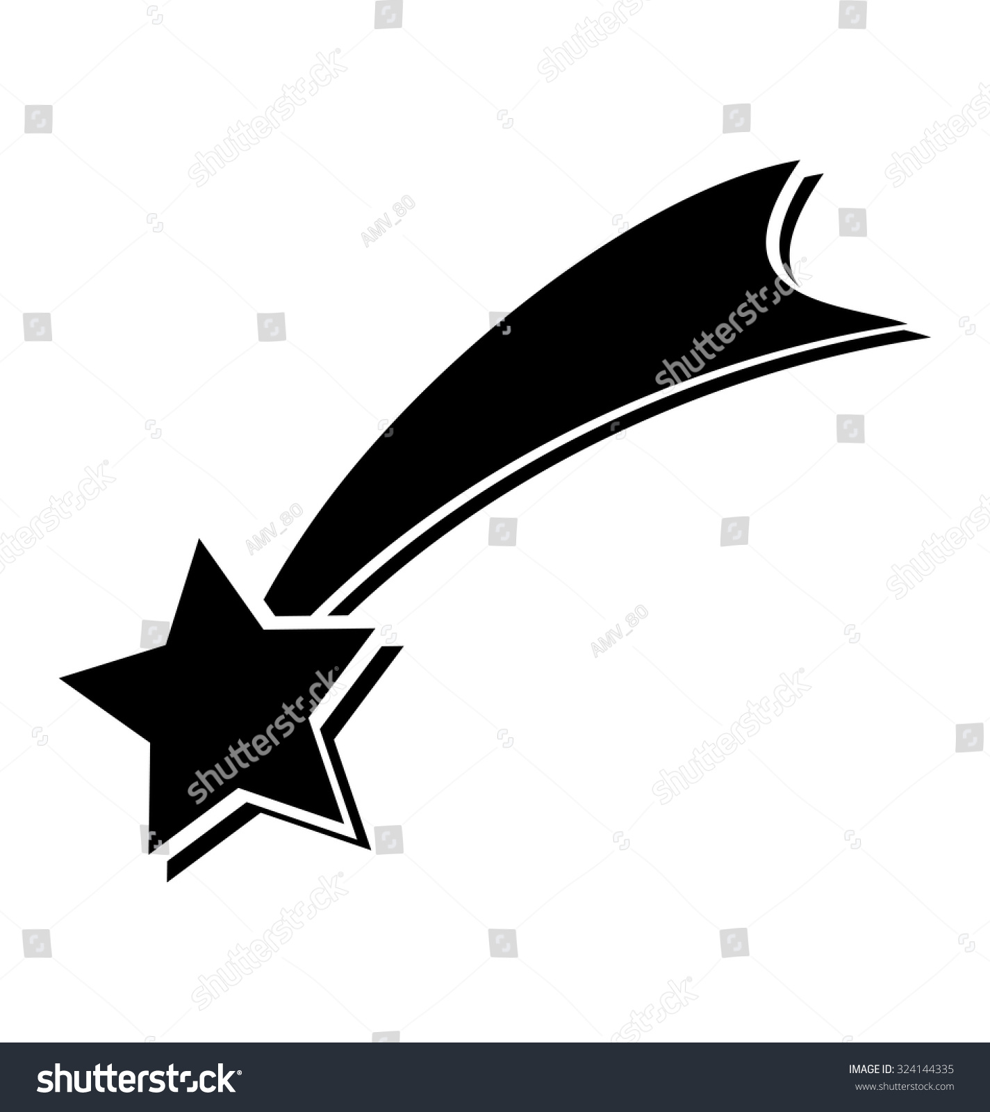 Shooting Star On White Background Christmas Stock Vector 324144335