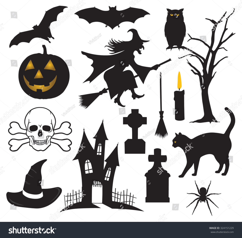 Set Halloween Things Stock Vector 324151229 - Shutterstock
