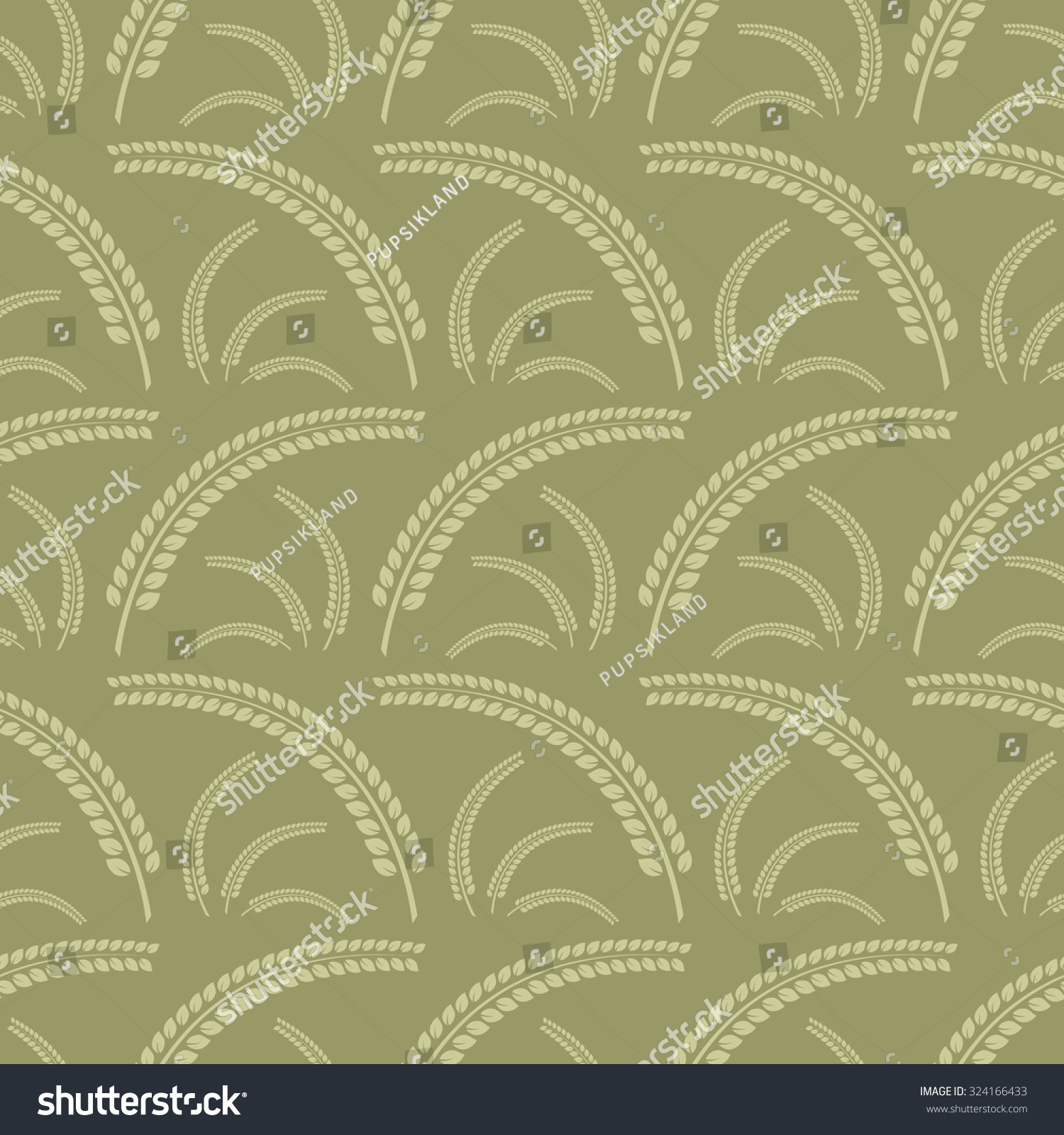 Seamless Pattern Spikelets Pale Yellow Color Stock Vector 324166433 ...