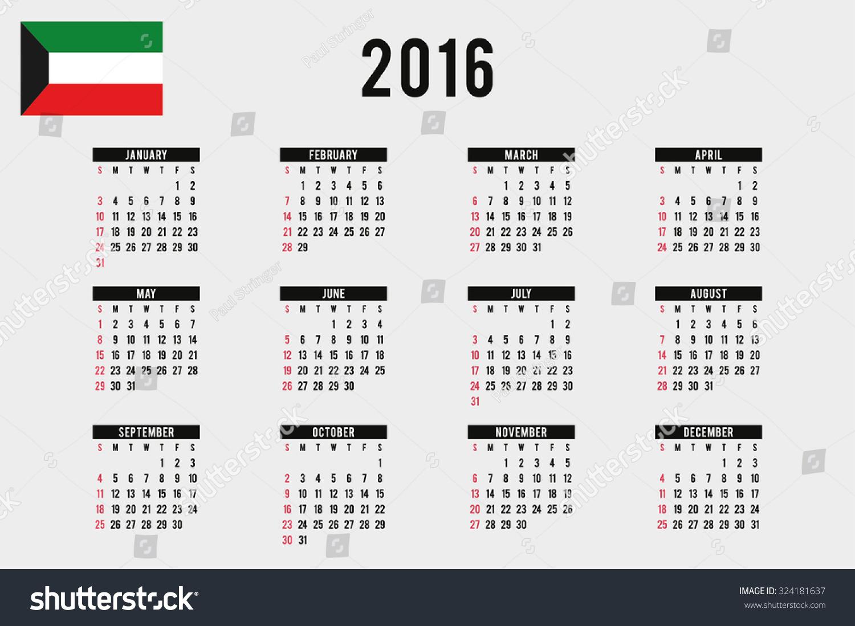 Year Calendar Kuwait : Calendar flag kuwait stock vector