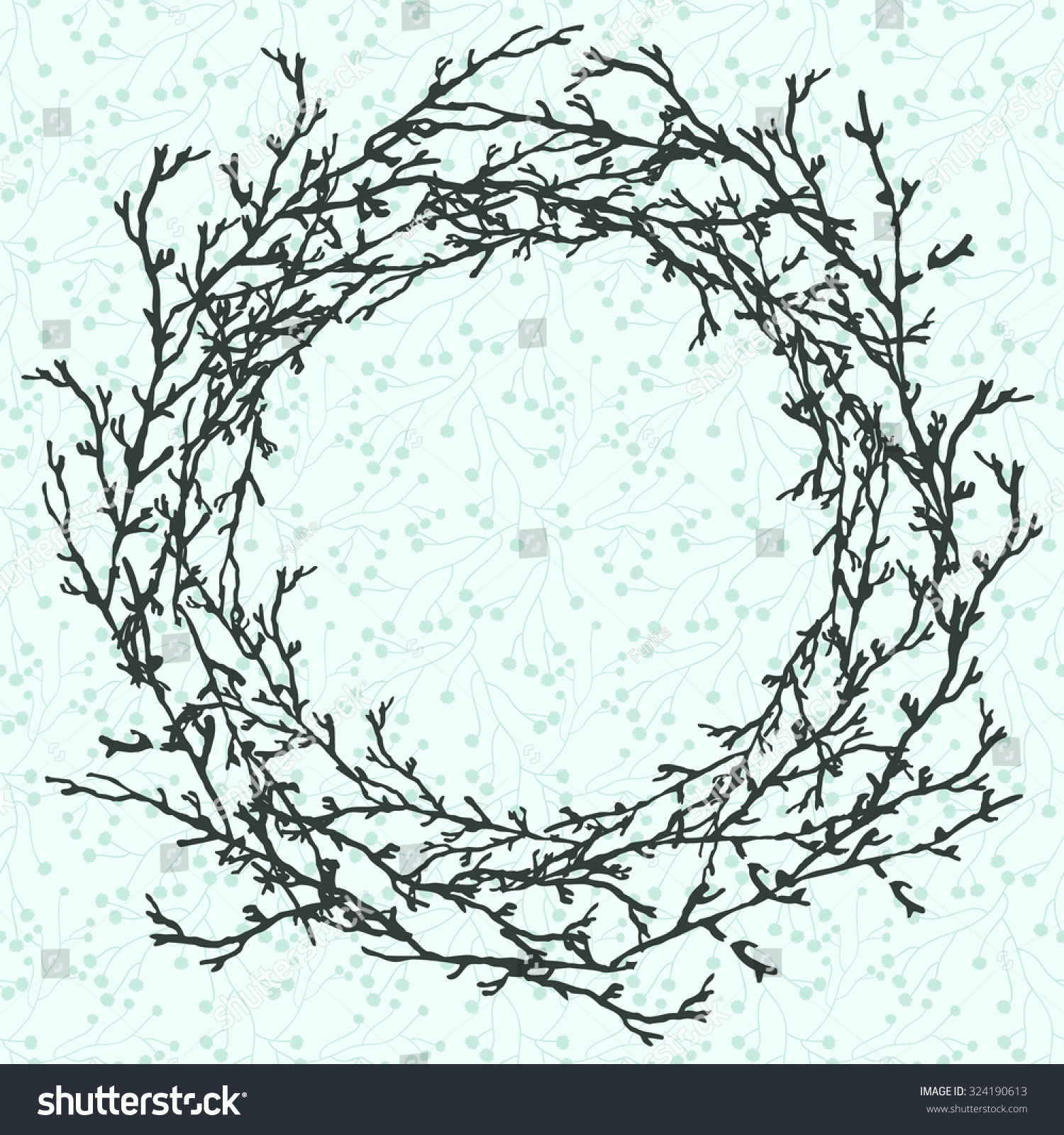 Round frame with decorative branch vector illustration stock - Vector Illustration Of Wreath Frame Circle Of Branches Twigs Hand Drawn Elements