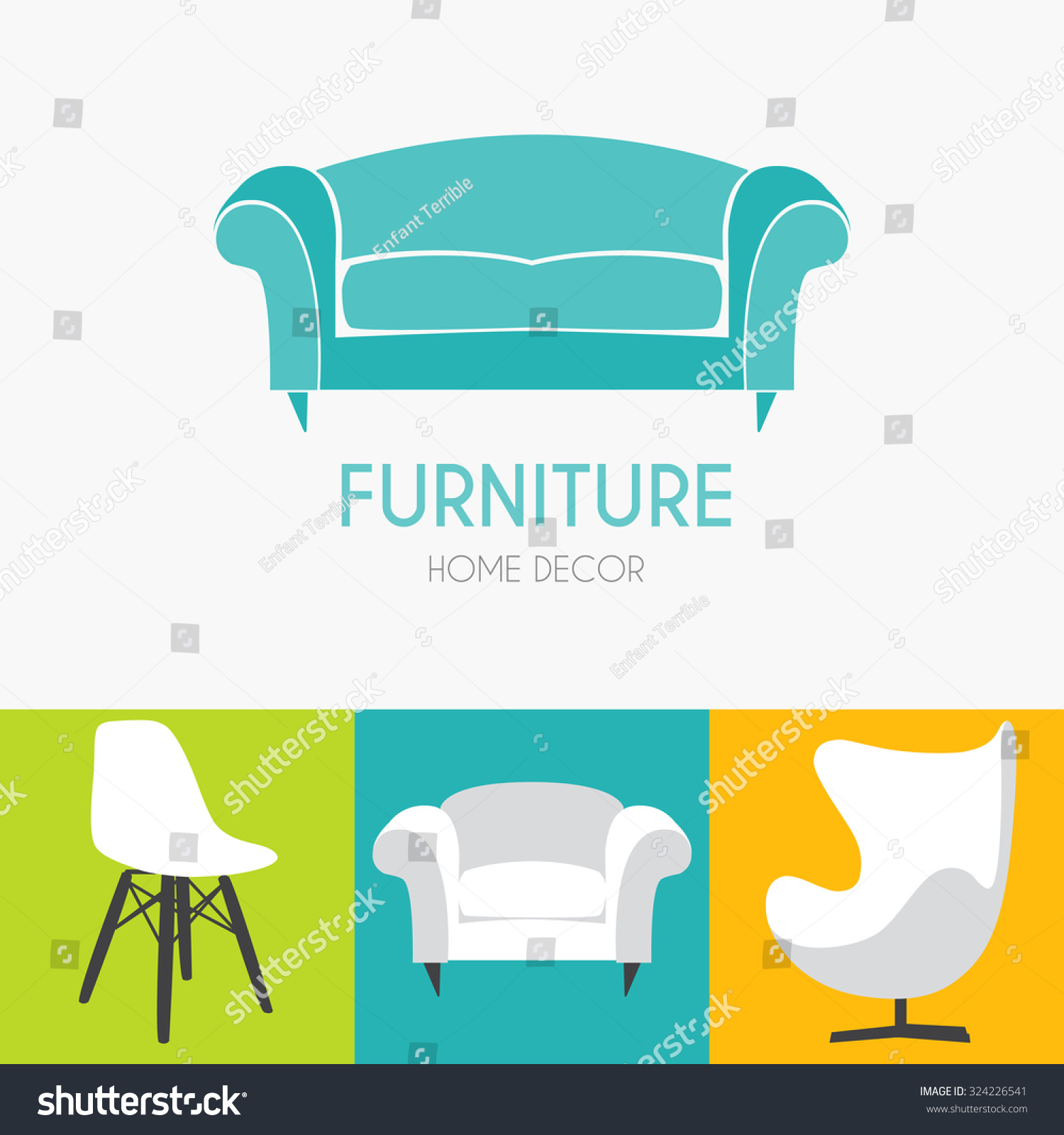 Royalty Free Sofa Business Sign Set Vector Template 324226541