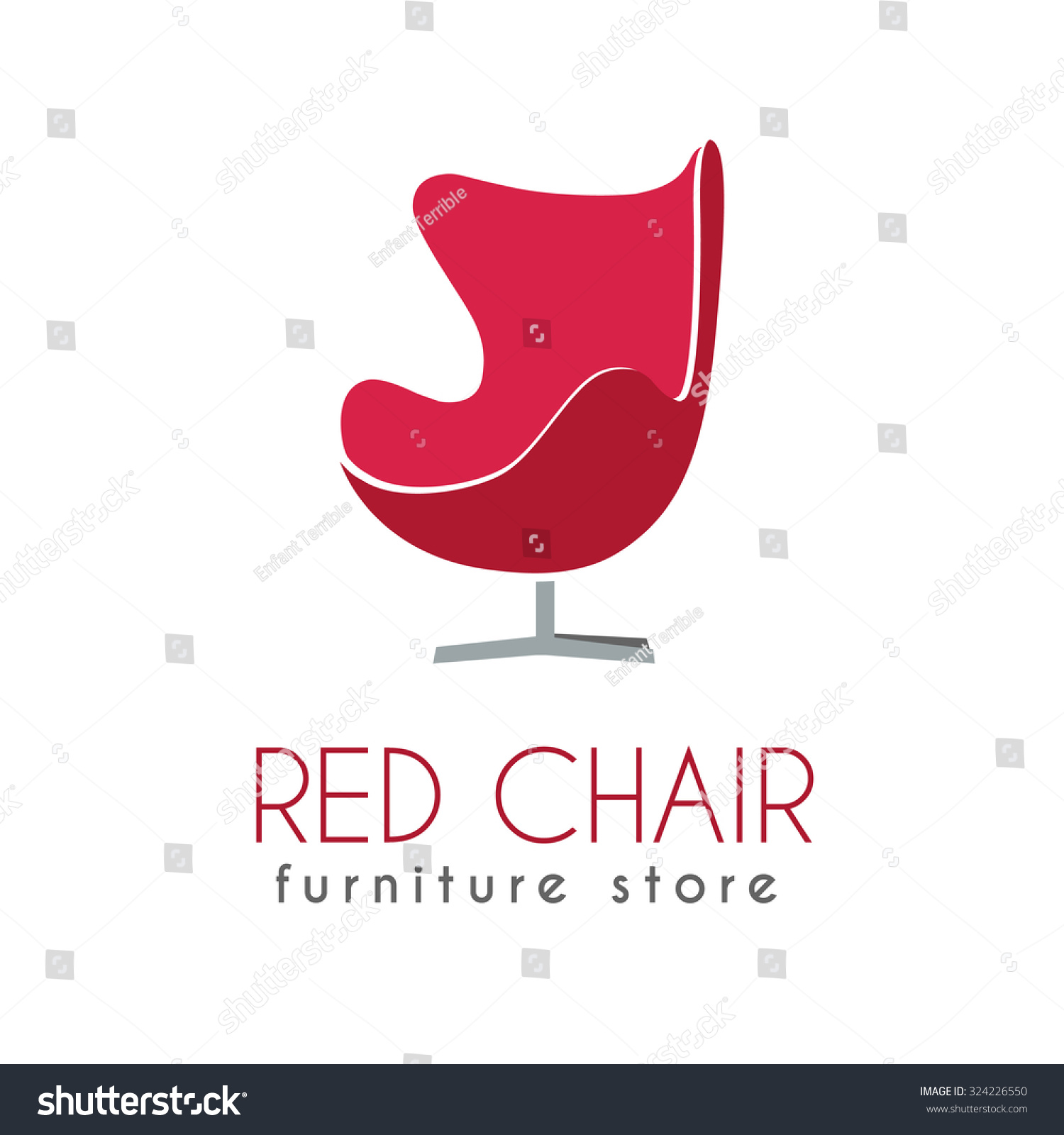 Red chair business sign vector template stock vector 324226550 red chair business sign vector template for furniture store home decor boutique furniture design wajeb Choice Image