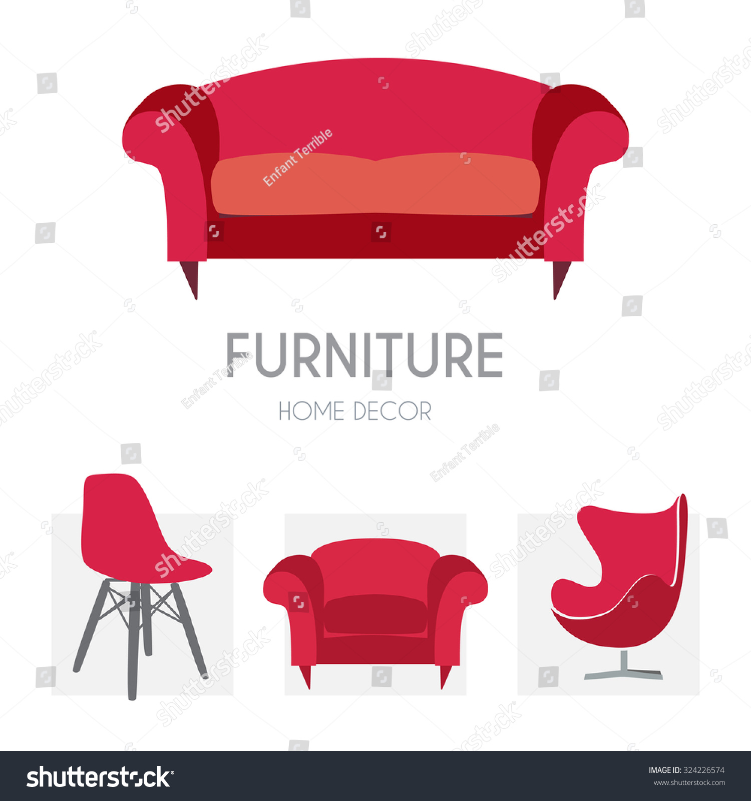 Sofa business sign set vector template stock vector 324226574 shutterstock Kave home furniture design