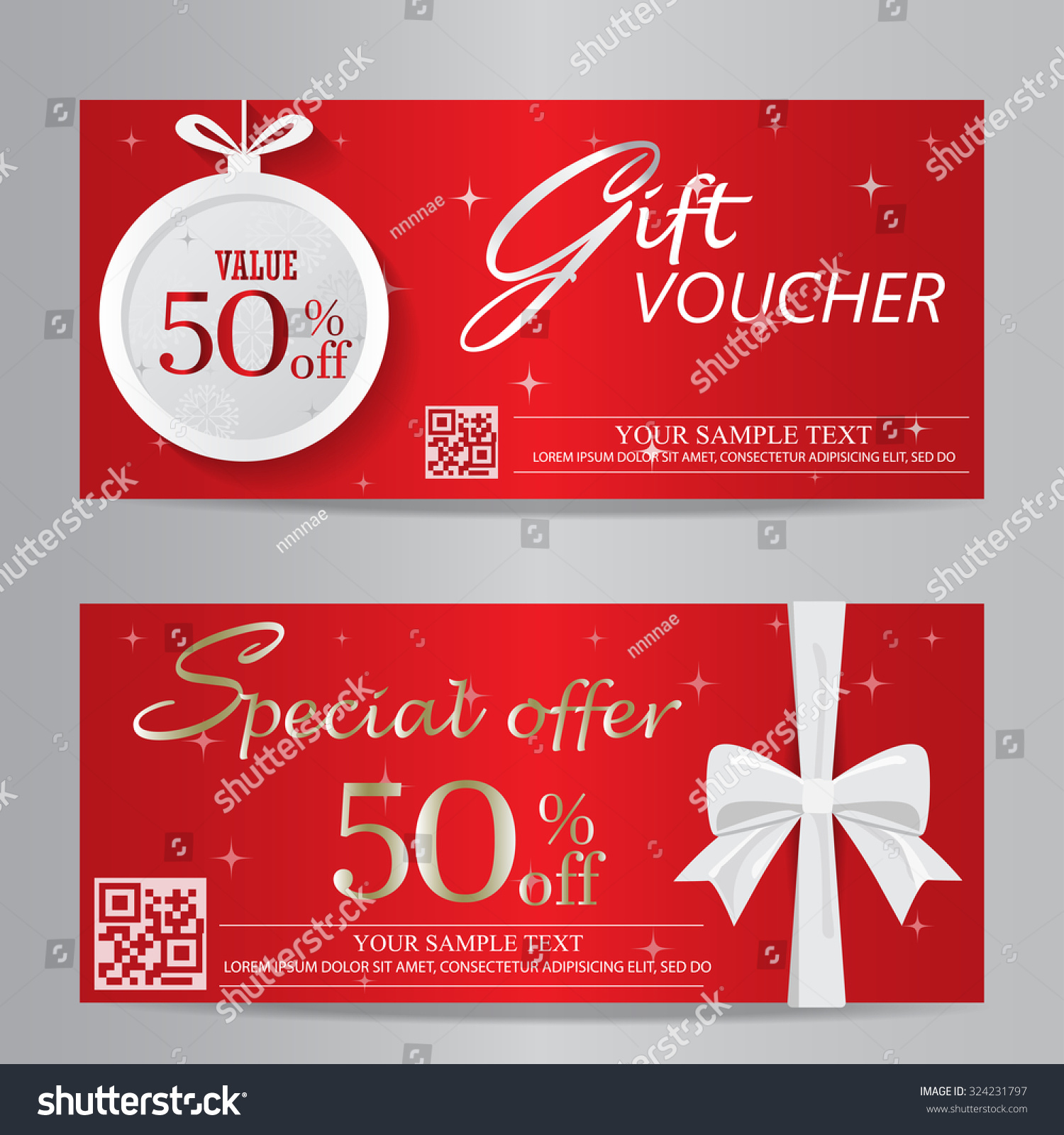 Red Christmas New Year Gift Voucher Stock Vector 324231797 ...