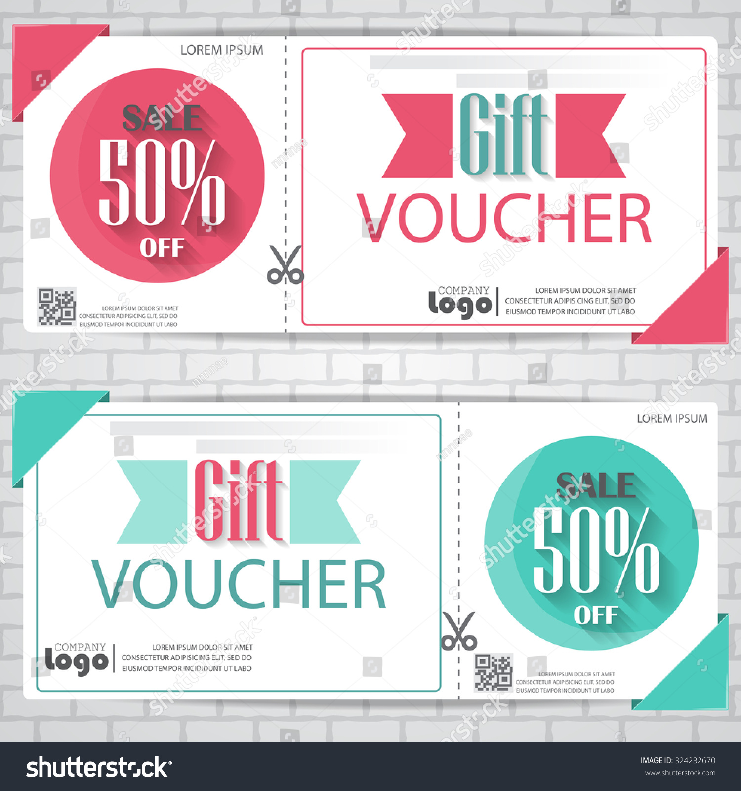 gift voucher certificate coupon template cute and modern style can be use for business shopping card customer sale and promotion layout banner web design vector illustration