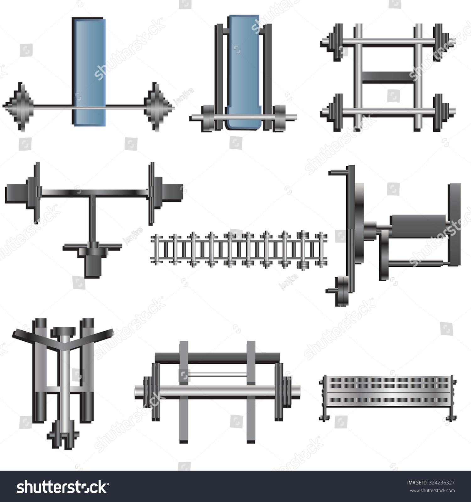 Fitness equipment top view set stock vector