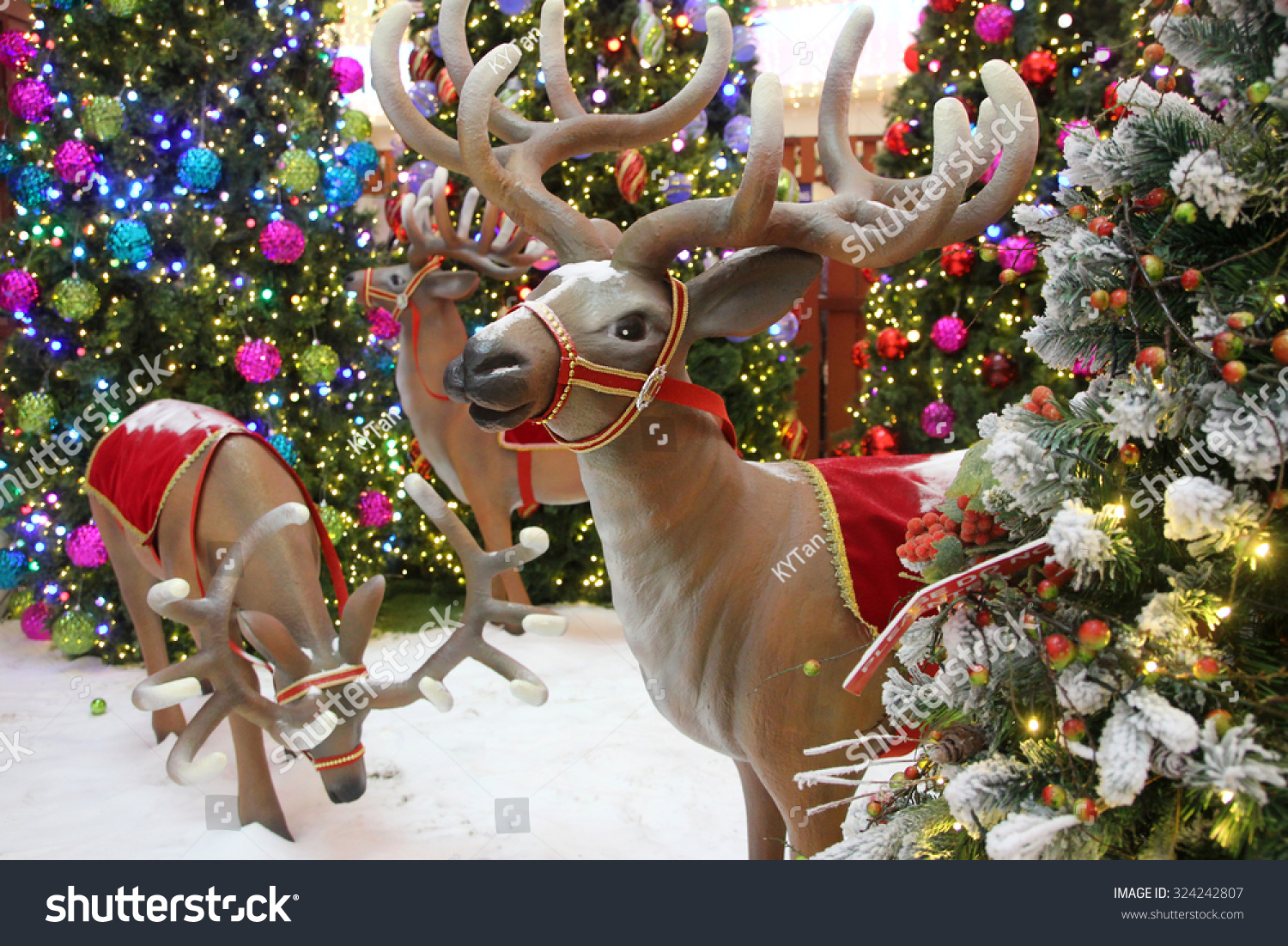 Reindeer Statues Christmas Decorations Stock Photo