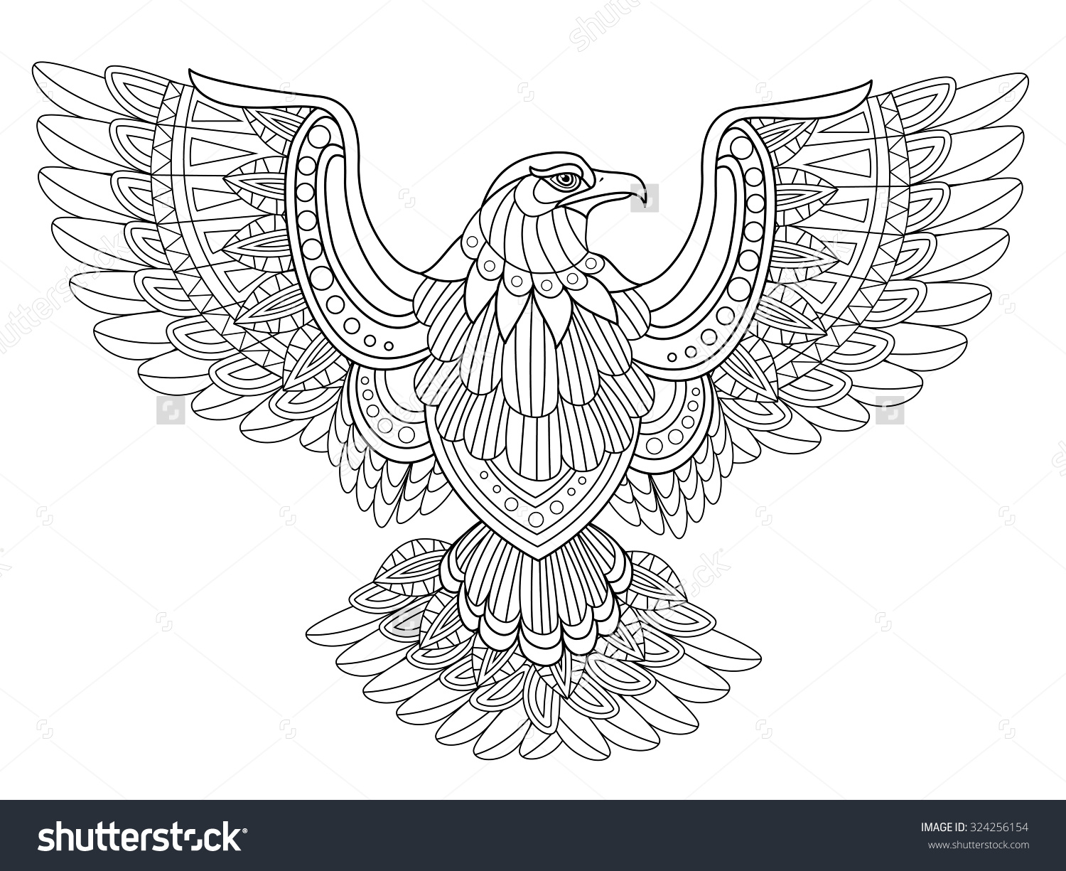 American eagle coloring pages - Flying Eagle Coloring Page In Exquisite Style