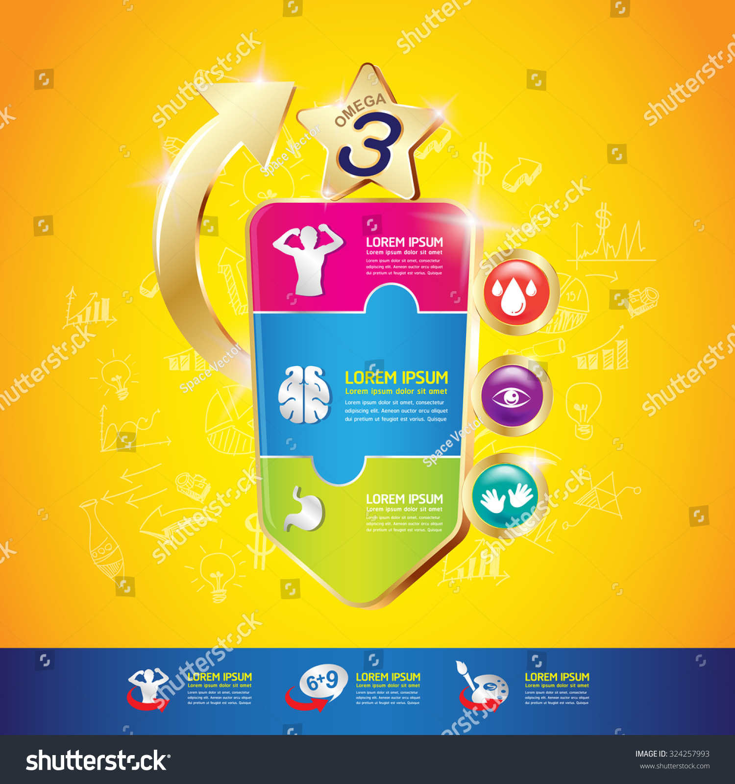 Omega Calcium and Vitamin for Kids Vector Concept