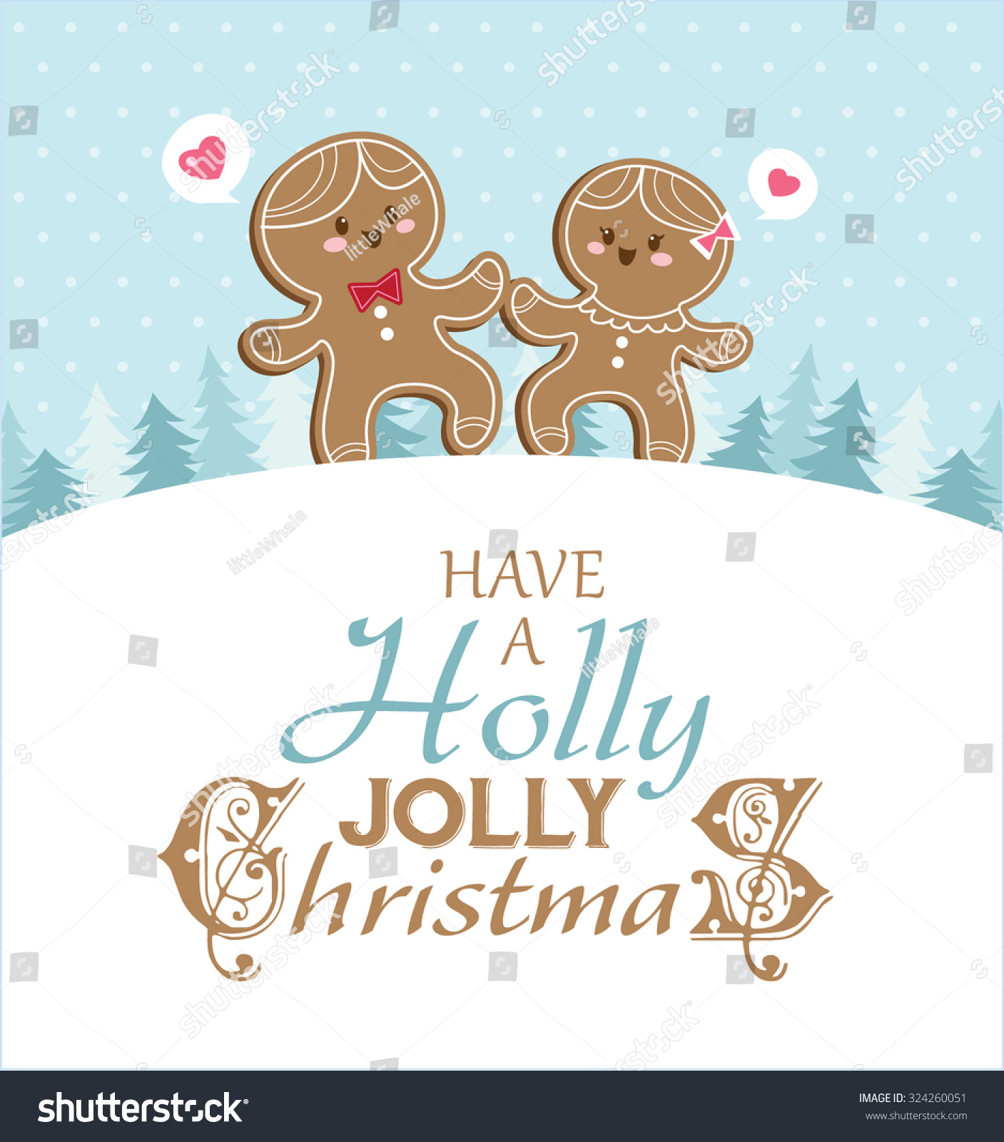 christmas card with gingerbread man and girlfriend - Christmas Card For Girlfriend