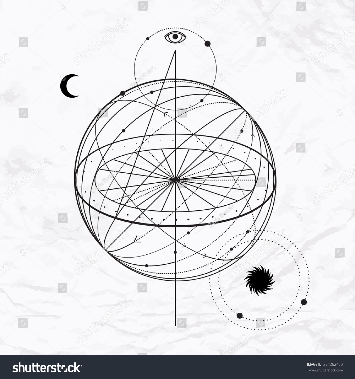 Vector Geometric Alchemy Symbol Eye Moon Stock Vector Royalty Free