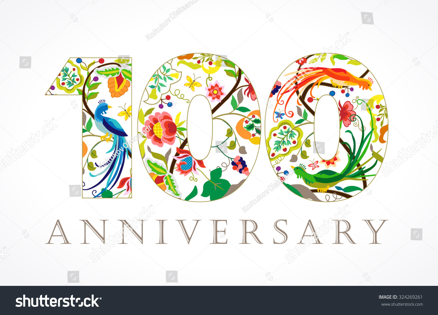 100 years old luxurious celebrating folk stock vector 324269261 100 years old luxurious celebrating folk logo template colored 100 th happy anniversary greetings pronofoot35fo Images