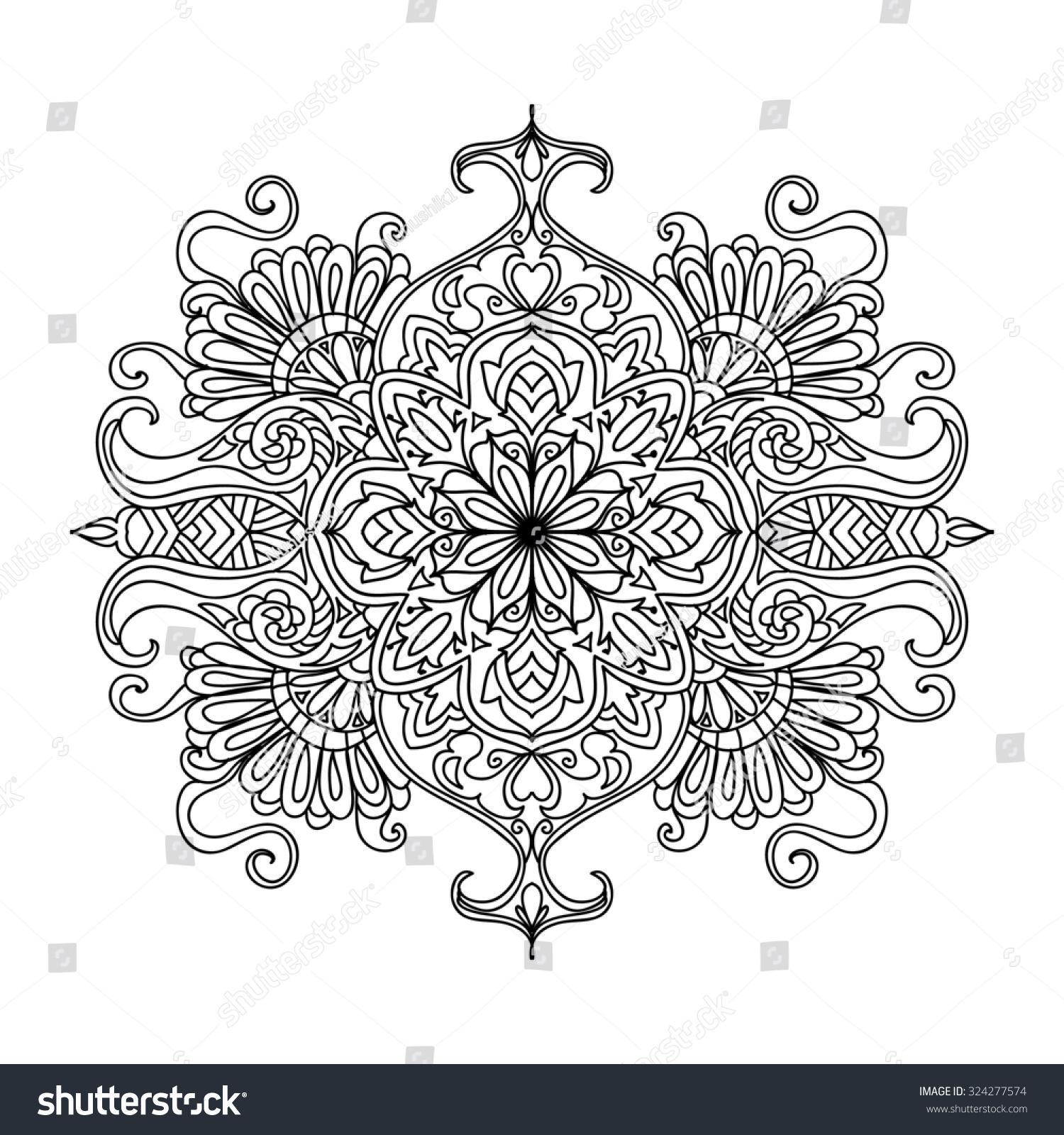 abstract mandala coloring page stock illustration 324277574