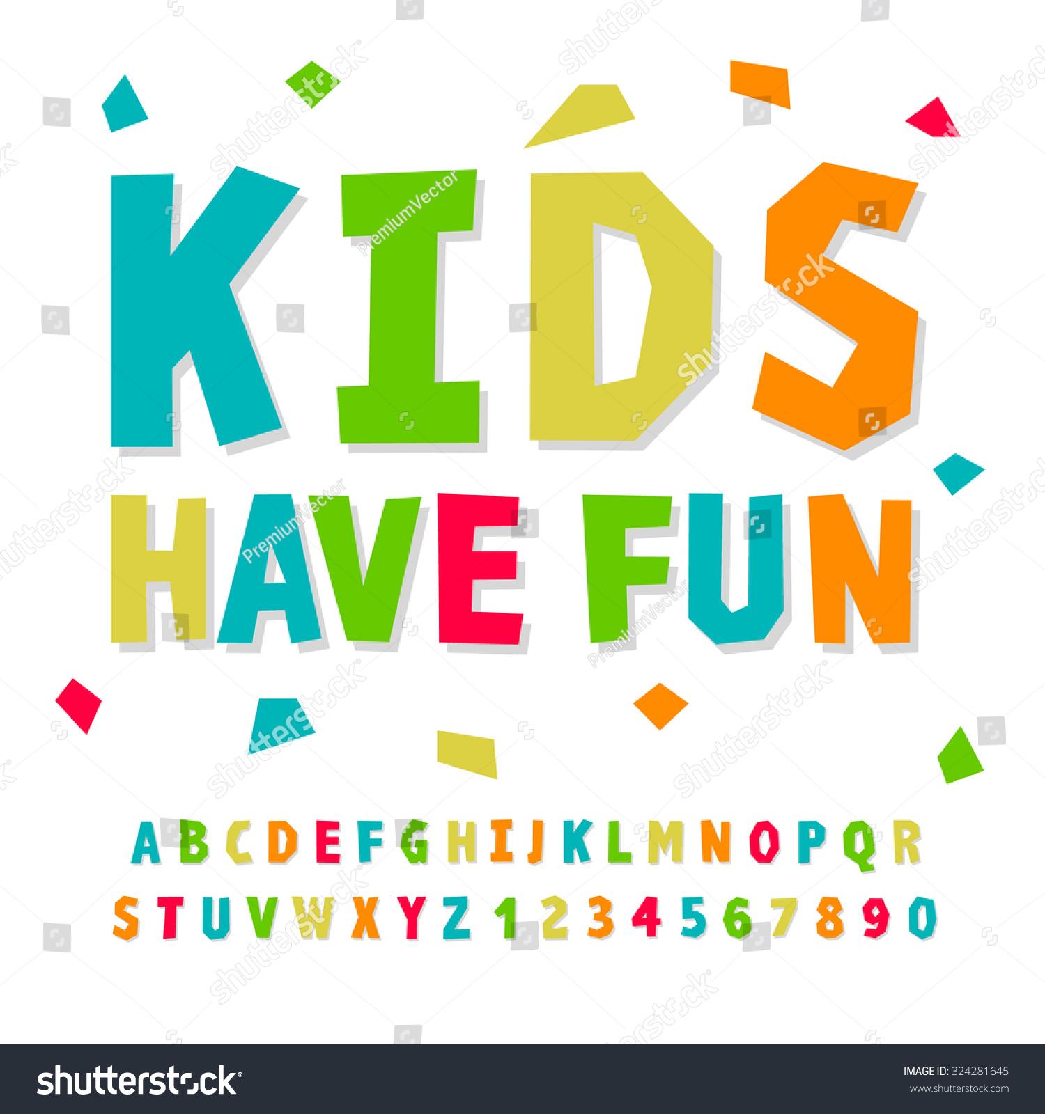 Creative Kids Funny Alphabet Numbers Vector Stock Vector