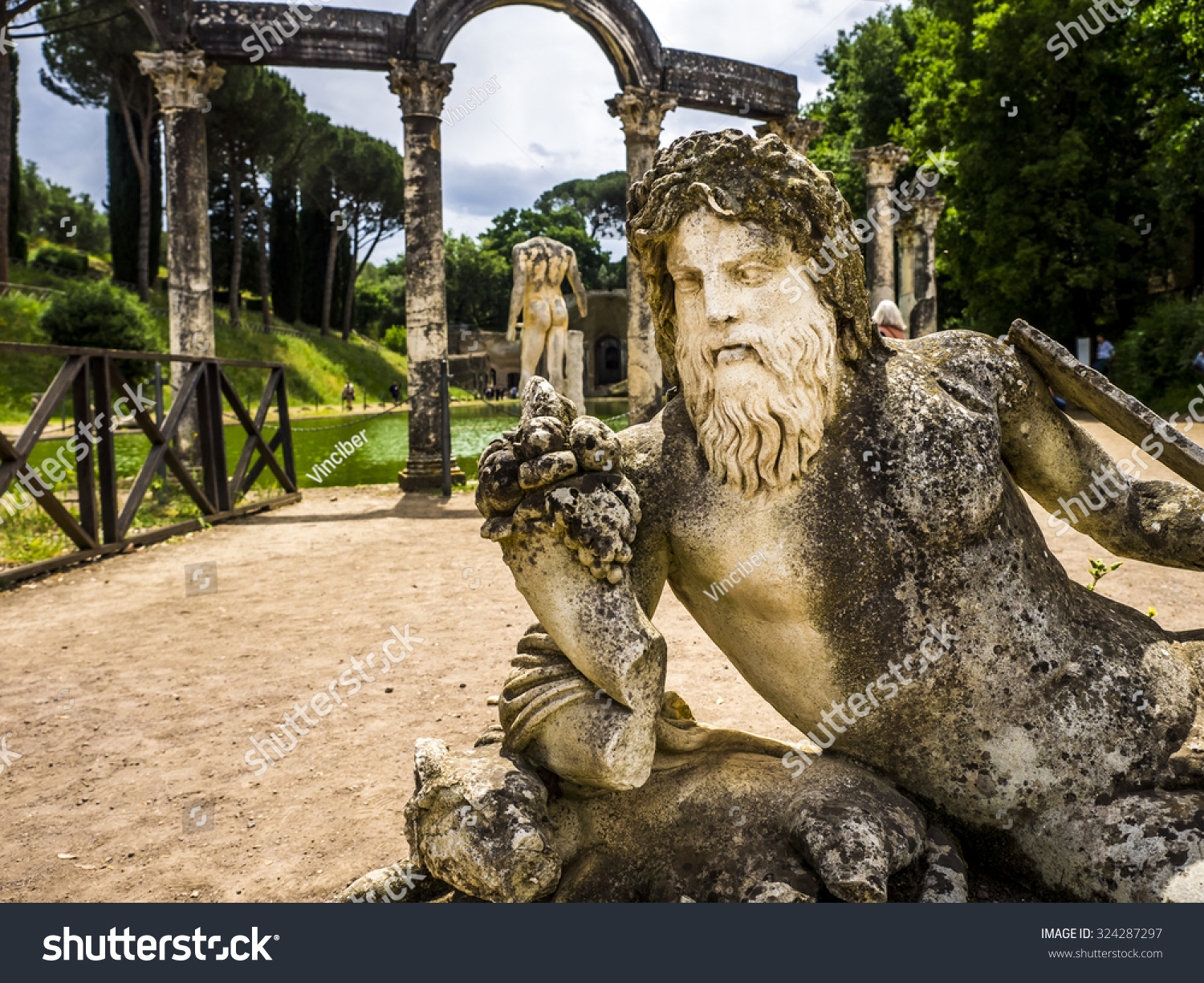 Ancient ruins of Villa Adriana, residence of the emperors of Rome ...