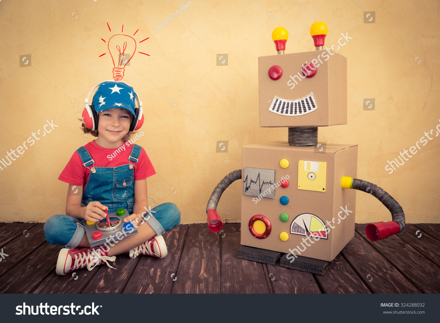 Happy kid playing with toy robot at home. Retro toned  sc 1 st  Shutterstock & Happy Kid Playing Toy Robot Home Stock Photo (100% Legal Protection ...