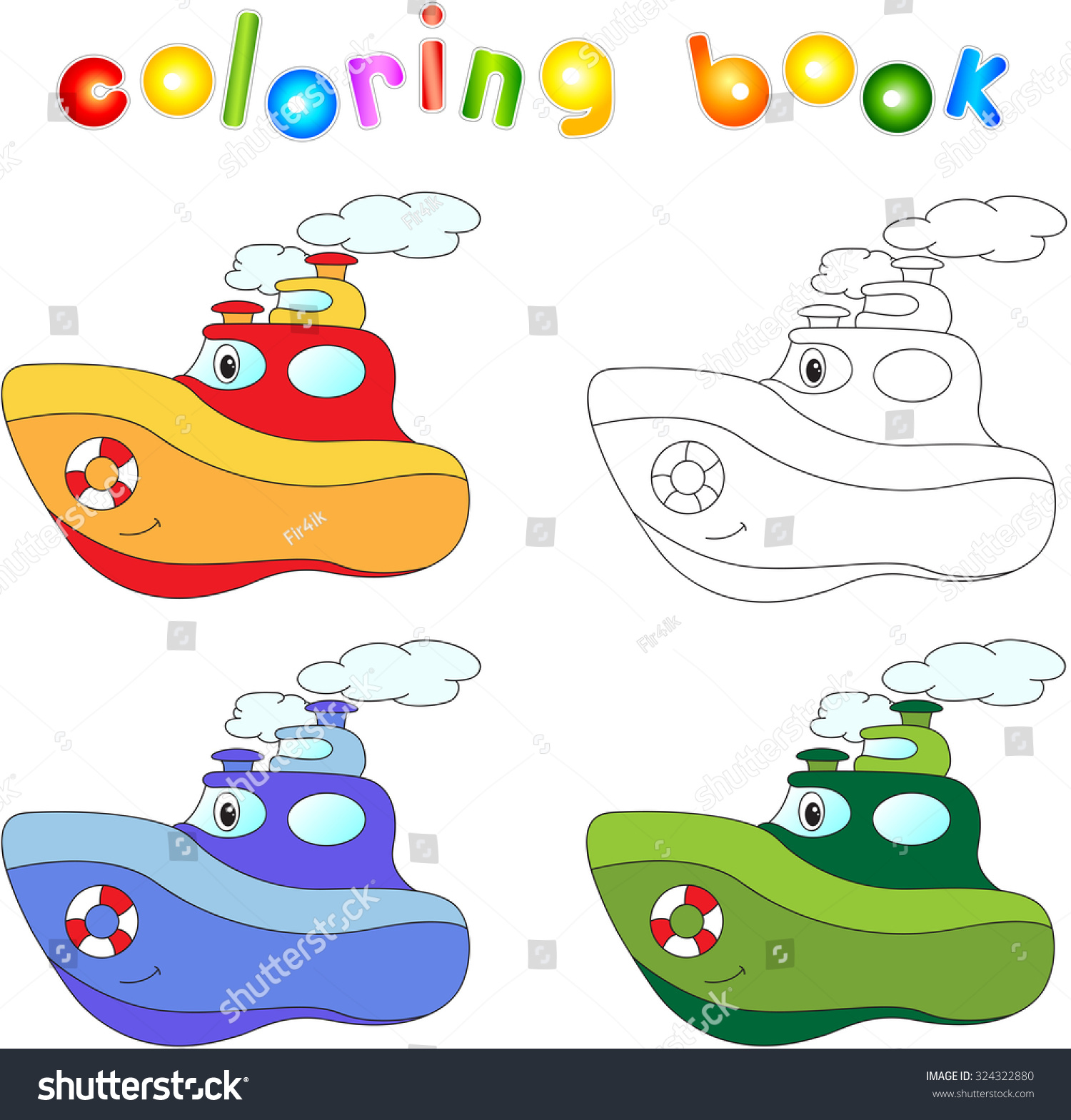 funny cartoon steamship coloring book children stock illustration