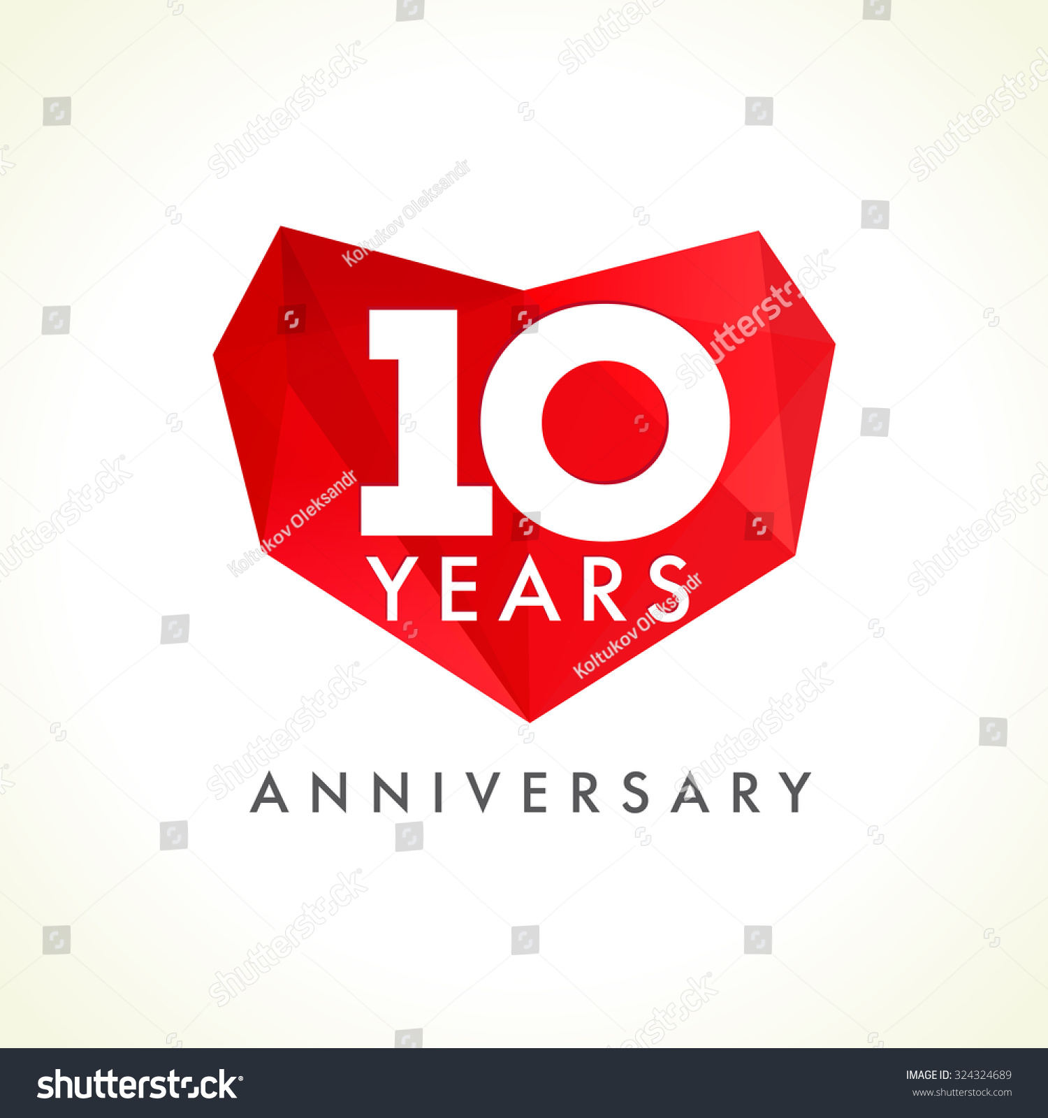 Anniversary 10 Years Old Hearts Celebrating Stock Vector Royalty