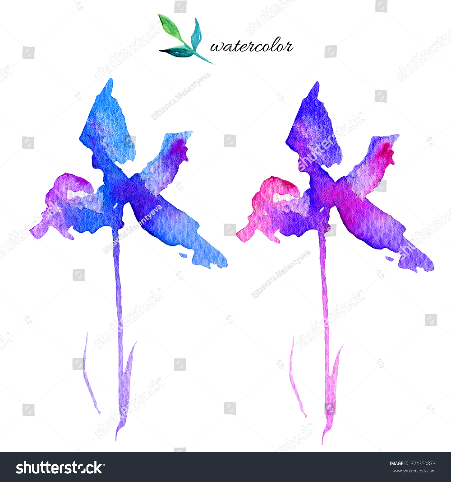 Watercolor abstract iris flowers isolated on stock illustration watercolor abstract iris flowers isolated on white background floral elements hand drawn artistic painting izmirmasajfo
