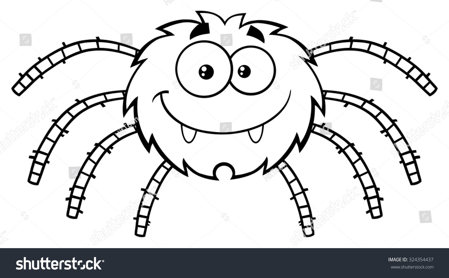 black white funny spider cartoon character stock vector