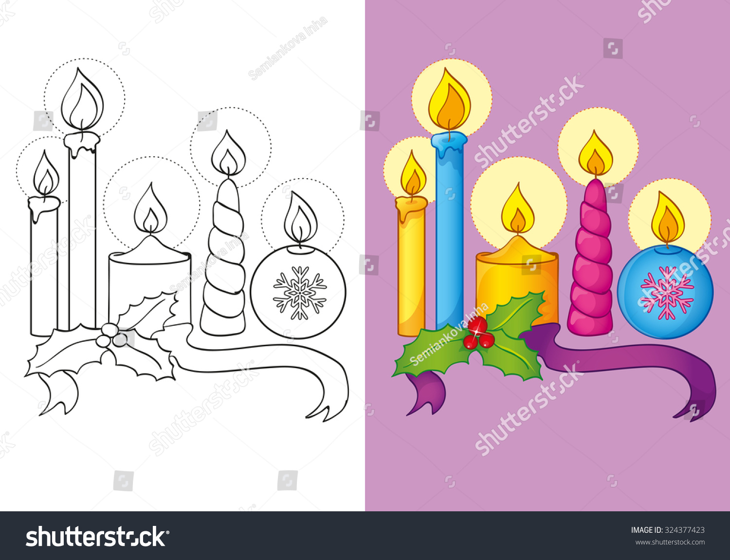 Coloring Book Or Cartoon Illustration Of Christmas Candles For Children