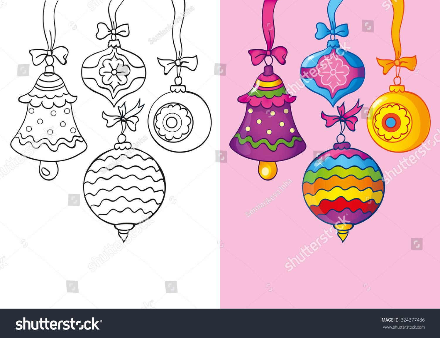 Coloring Book Or Cartoon Illustration Of Christmas Decorations For Children