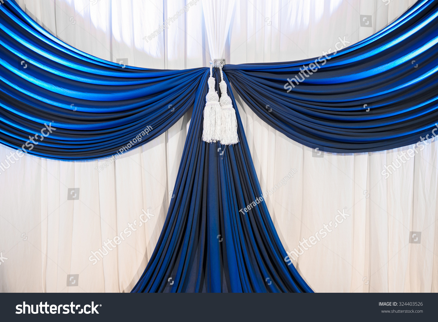 Blue curtain backdrop - White And Blue Curtain Backdrop Background For Wedding