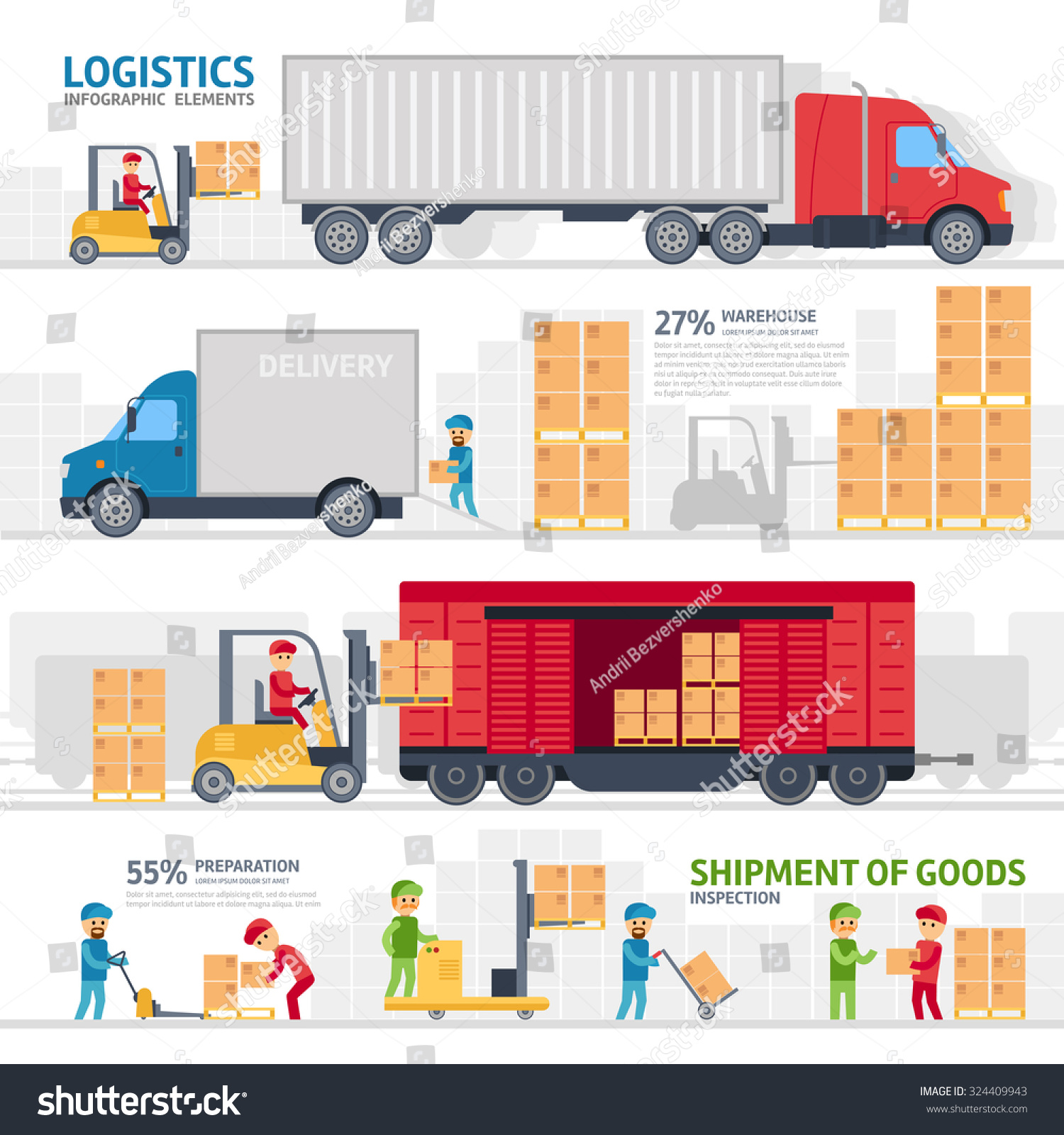 Shipping Delivery: Logistic Infographic Elements Set Transport Delivery Stock