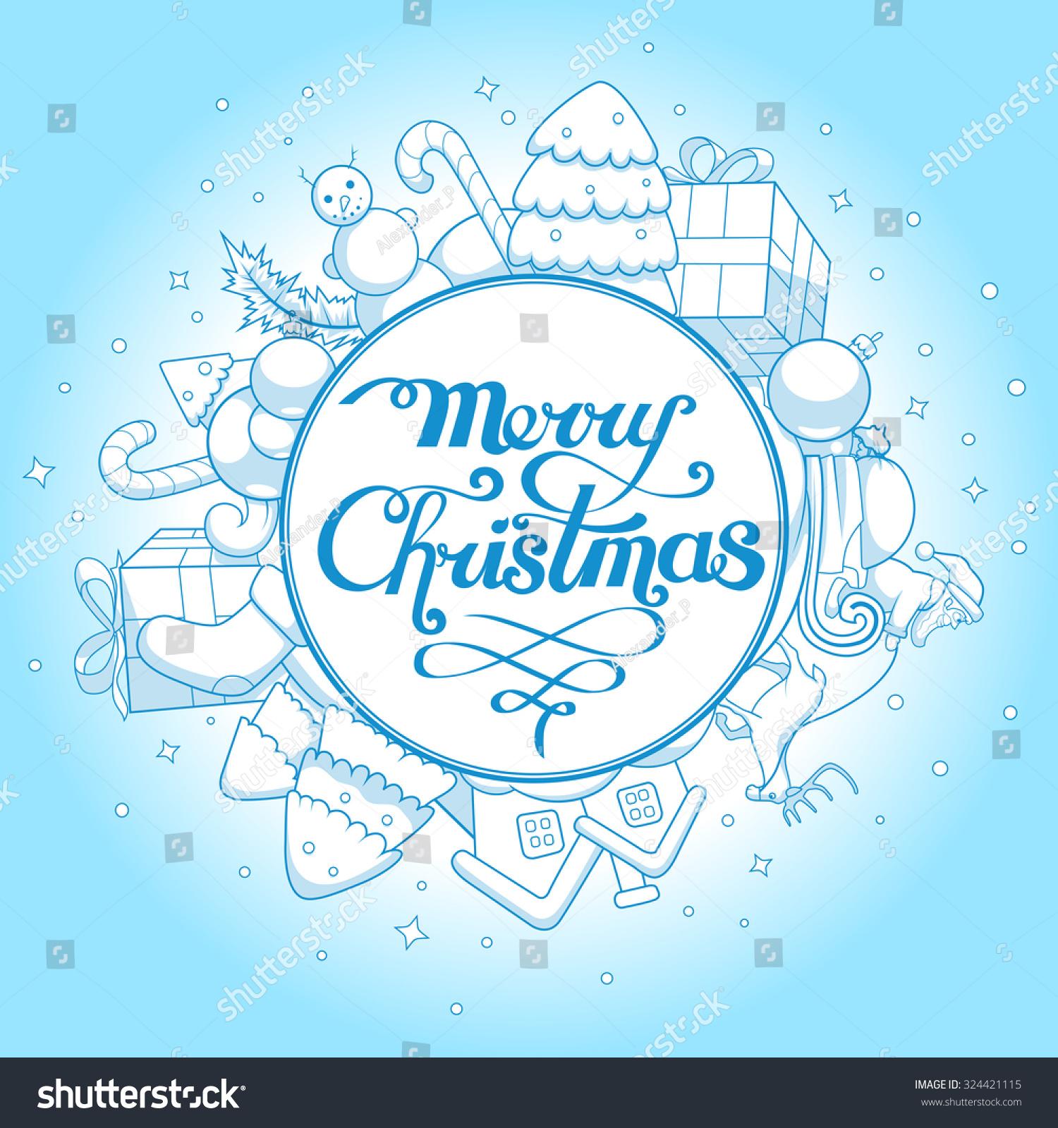 Vector Illustration Christmas Greeting Card Christmas Stock Vector