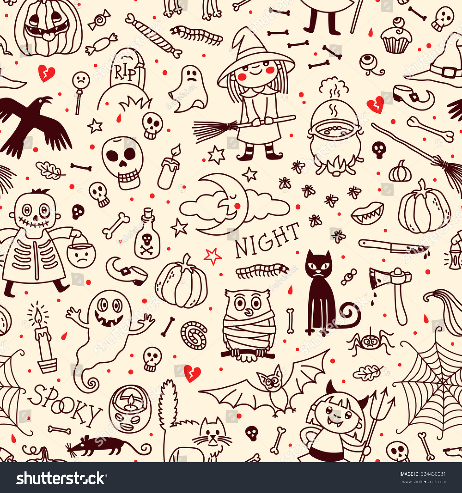 halloween seamless pattern background vector pumpkin stock vector