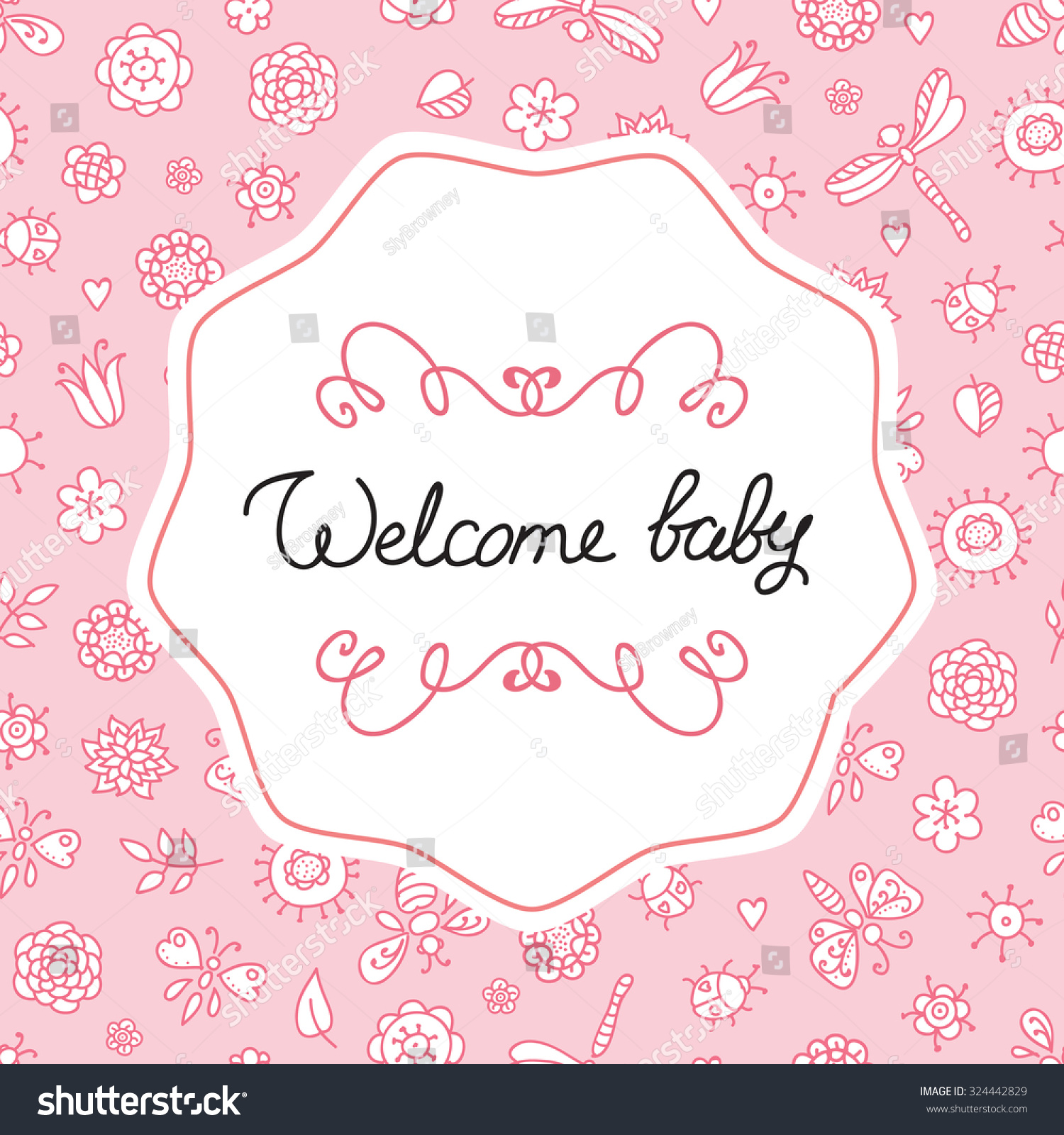 Welcome Baby Cute Baby Card Pink Stock Vector 324442829 ...