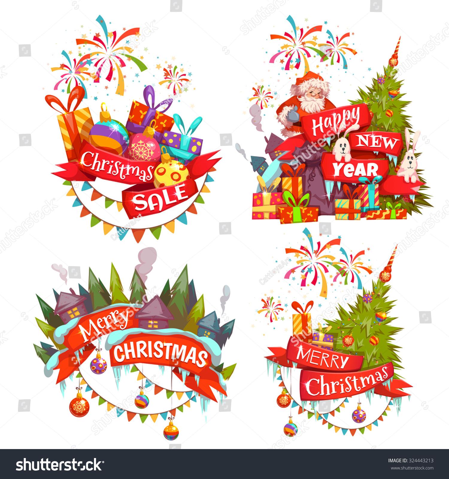 merry christmas banner set santa claus stock vector royalty free