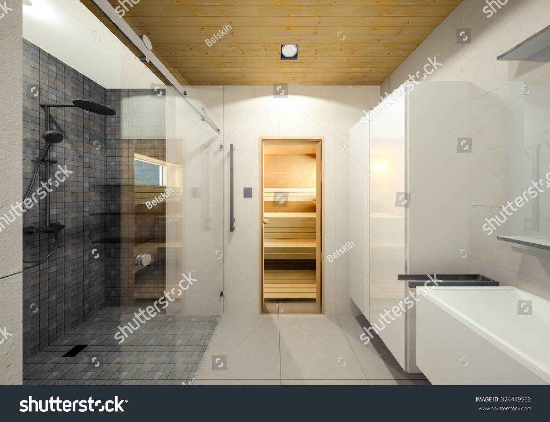 Minimalist Bathroom With Sauna 3d Visualization