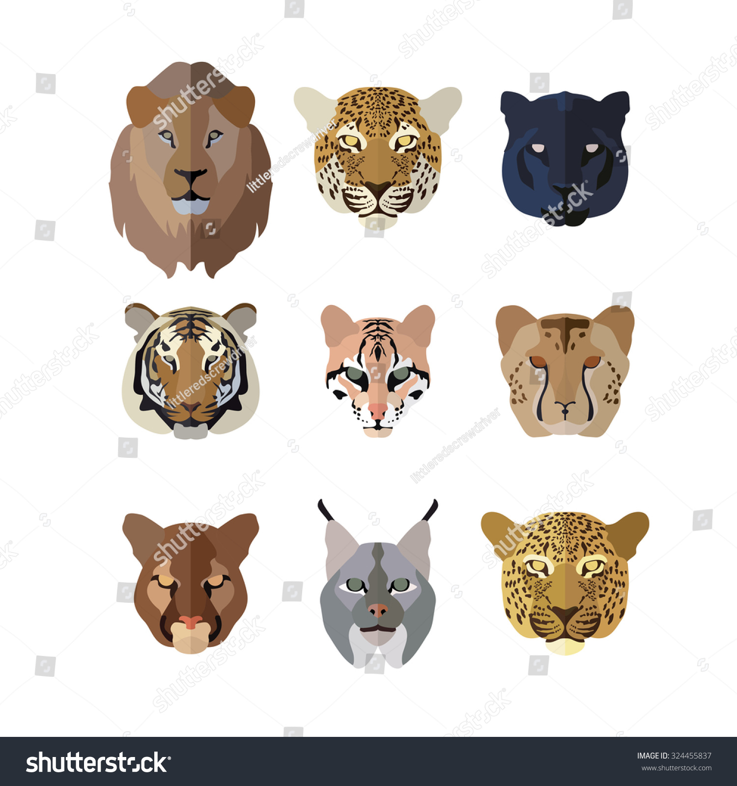 Animal Icons Flat Style Big Cats Stock Vector 324455837
