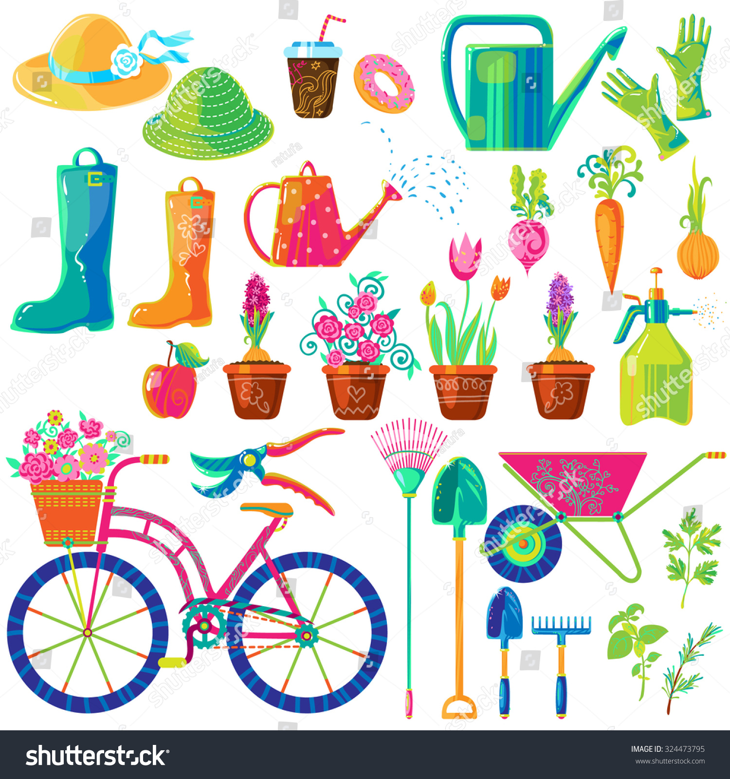 Vector Set Of Cute Funny Colorful Gardening Tools, Clothes, Vegetables,  Herbs And Cute