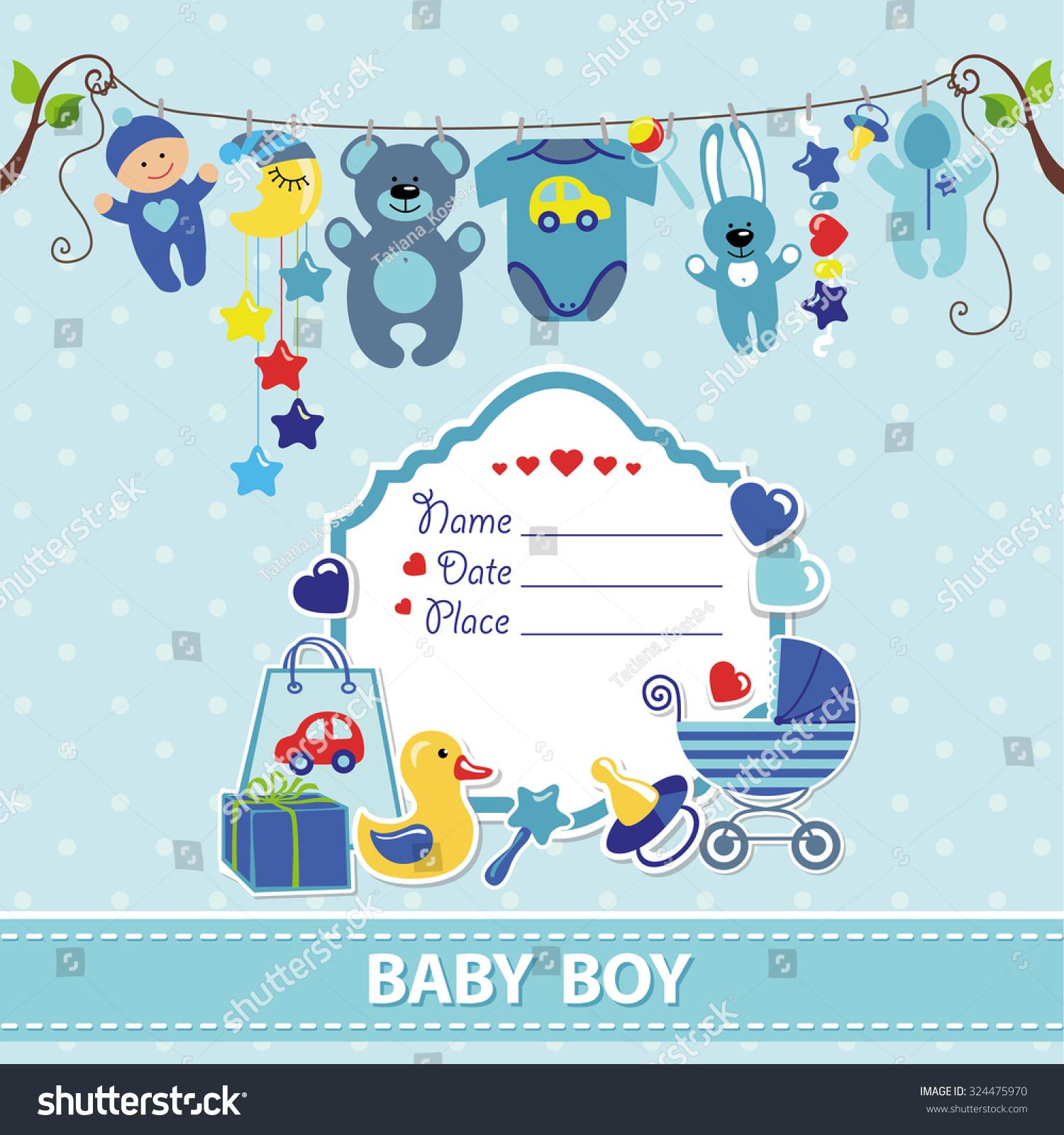 New Born Baby Boy Invitation Shower Stock Vector Royalty Free
