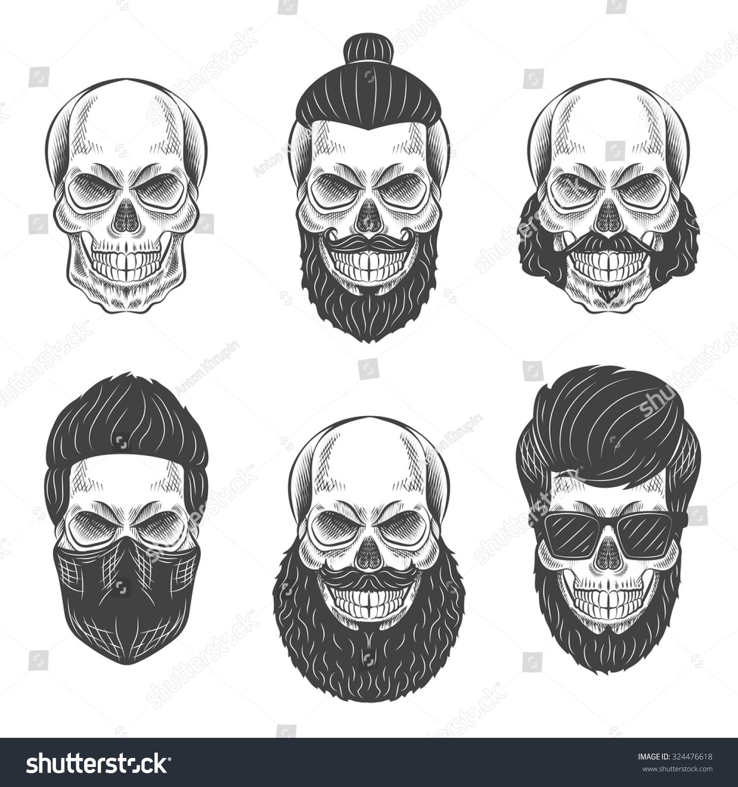 Skulls Hipster Hair Beards Fashion Vector