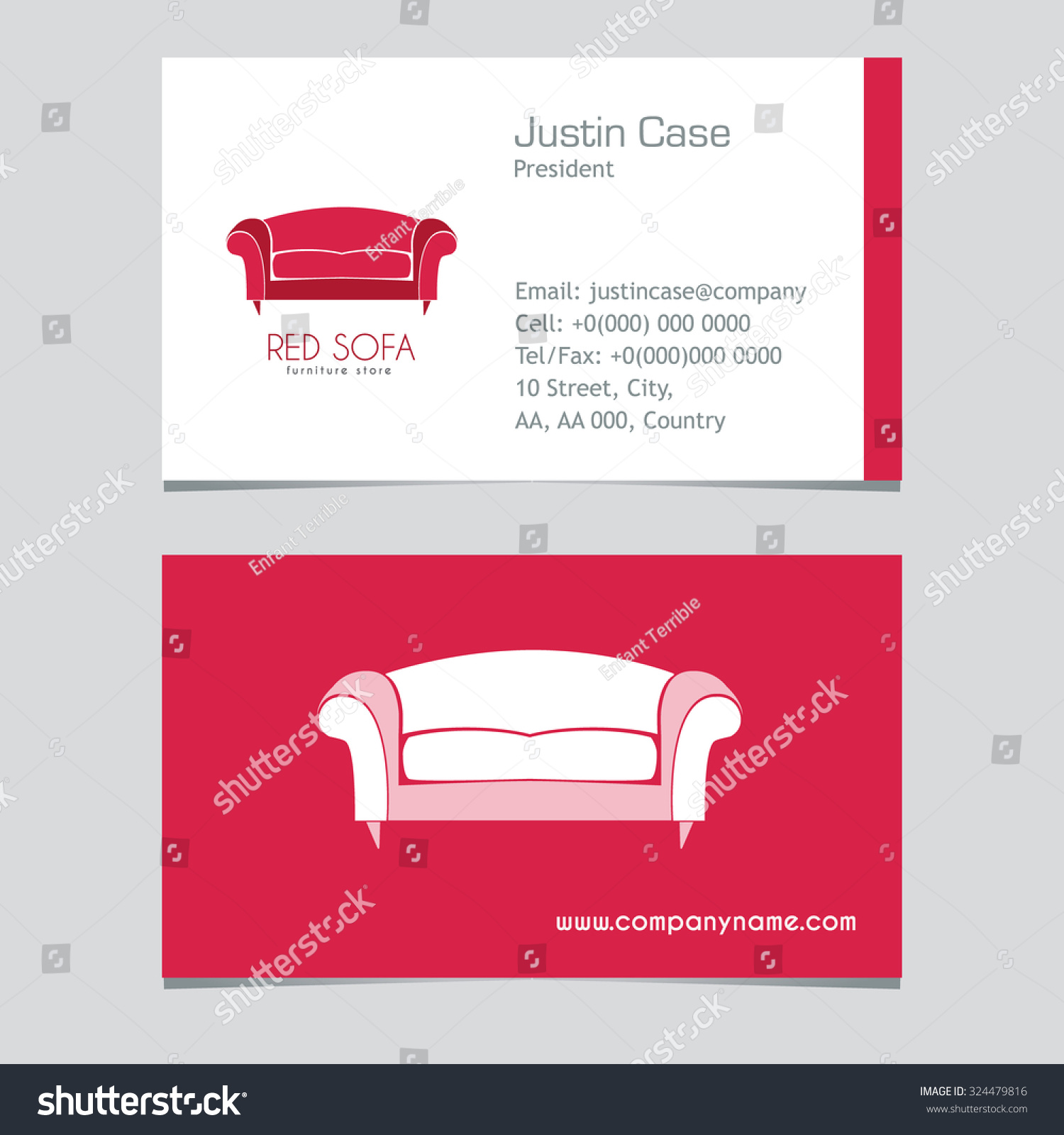 Sofa Business Sign Vector Template Furniture Stock Vector Royalty