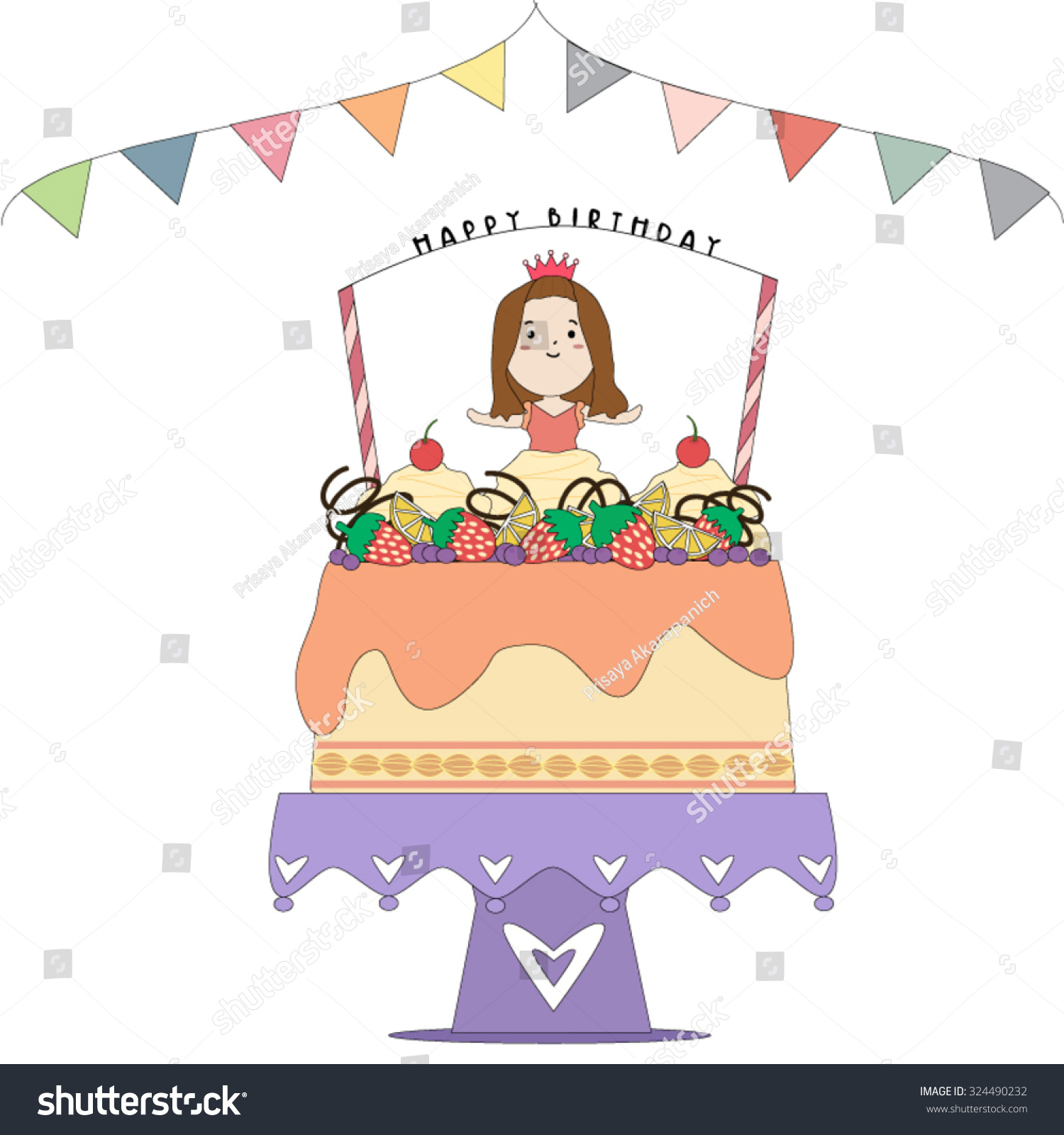 Vector Birthday Card Cute Small Princess Stock Vector Hd Royalty