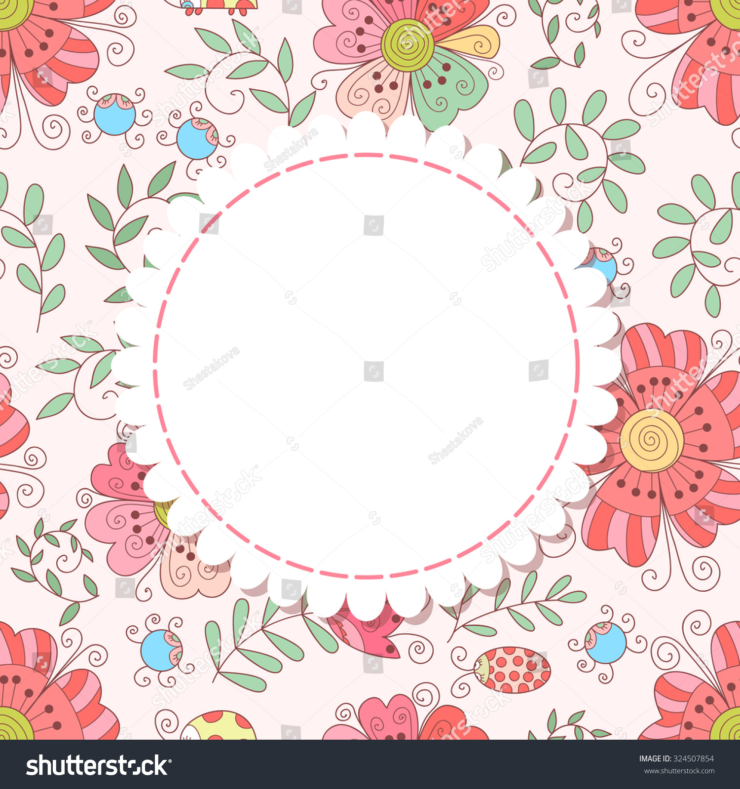 Cute Flower Photo Frame Baby Shower Stock Illustration 324507854