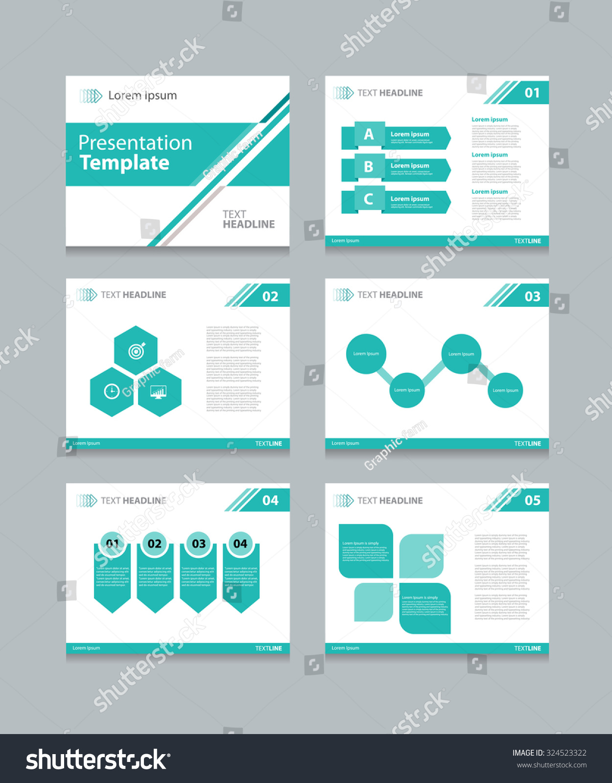 business presentation template slide design graphs stock vector