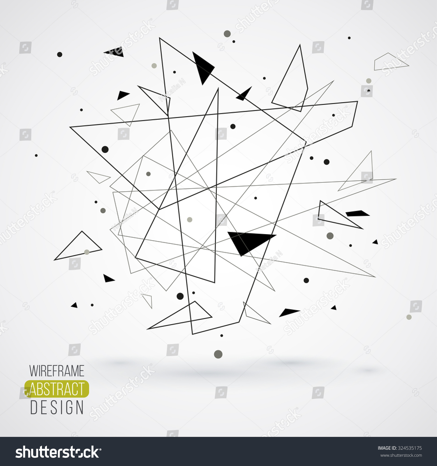 Lines Shapes And Forms : Wireframe mesh element with triangle shapes abstract form