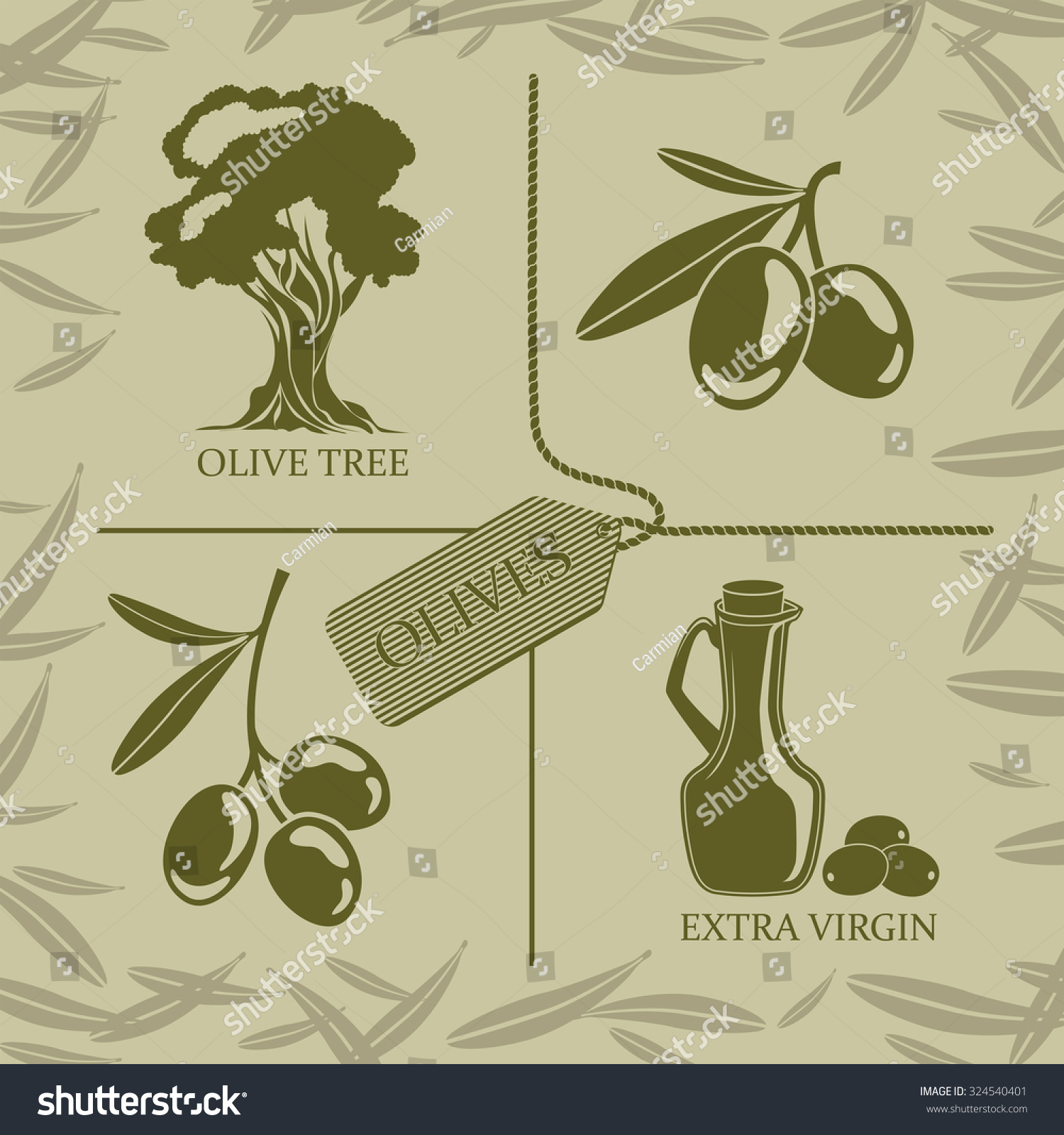 Set four symbols on theme olives stock vector 324540401 shutterstock set of four symbols on the theme of olives and oil buycottarizona Choice Image