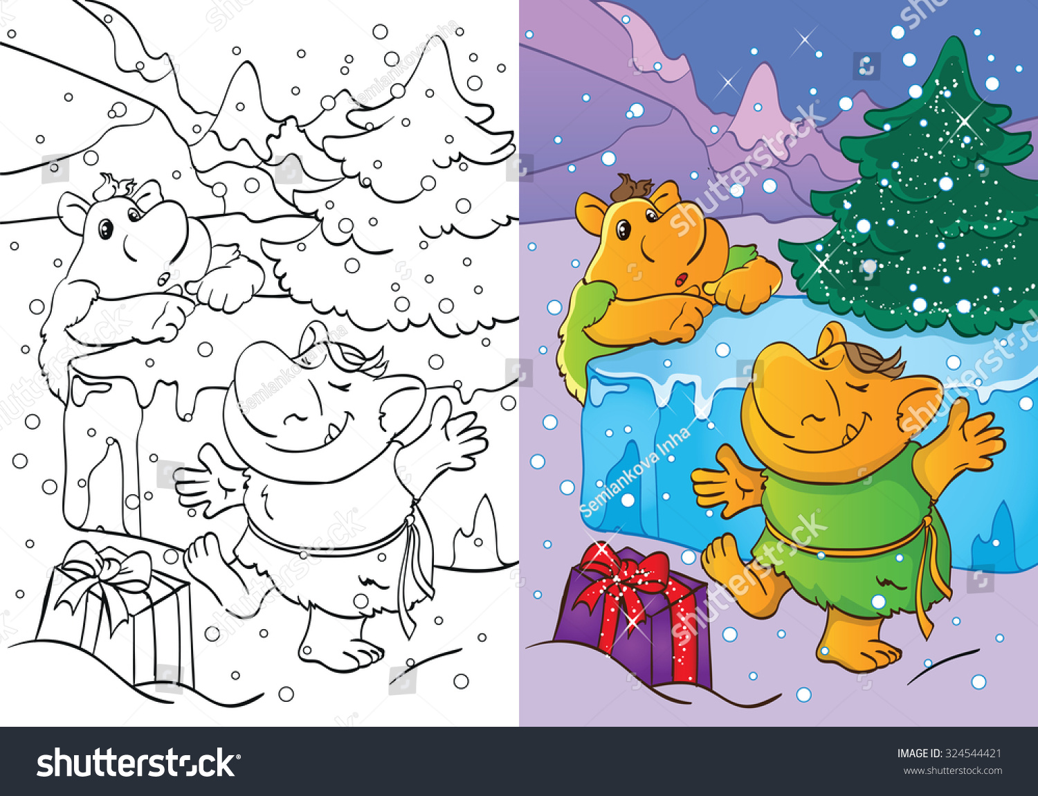 Coloring Book Cartoon Christmas Illustration Funny Stock Vector 324544421