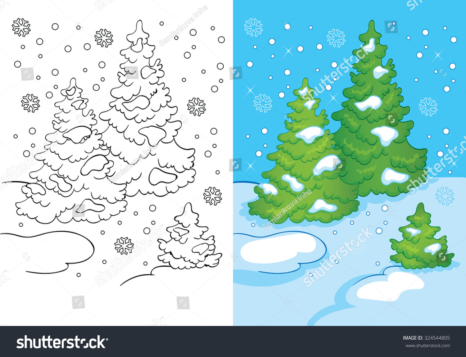 Coloring Book Cartoon Christmas Illustration Snowy Stock Vector ...