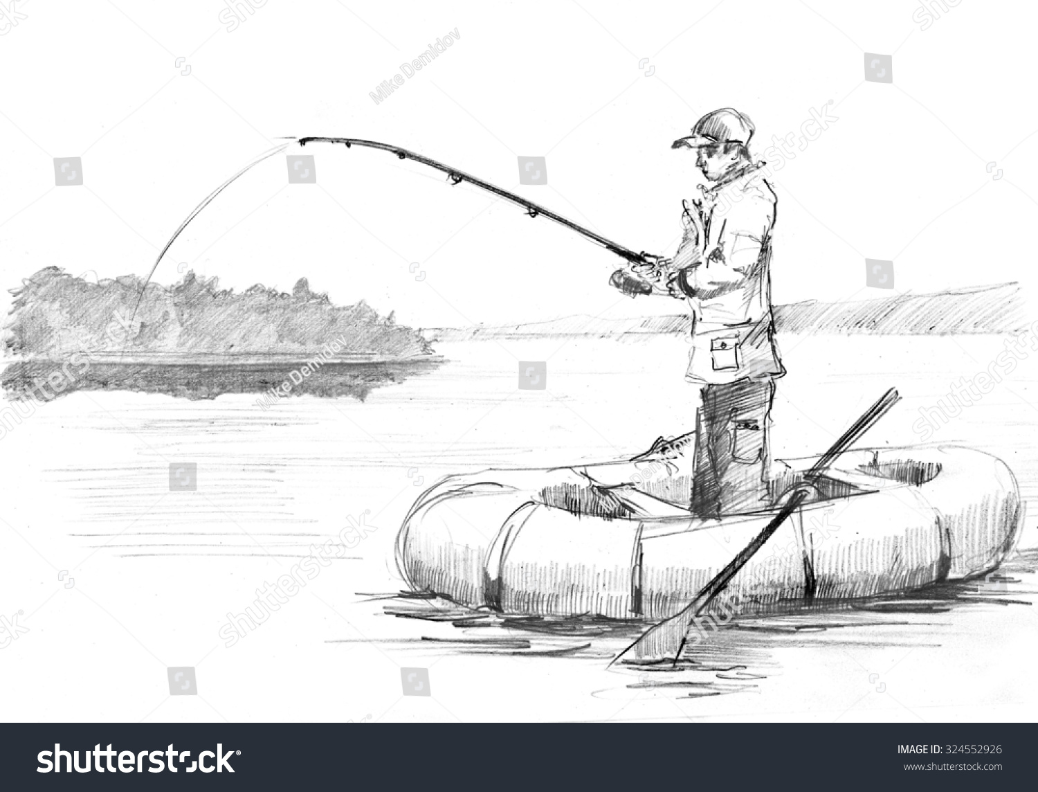 Pencil drawing fisherman rod fishing on stock illustration for How to draw a fishing boat