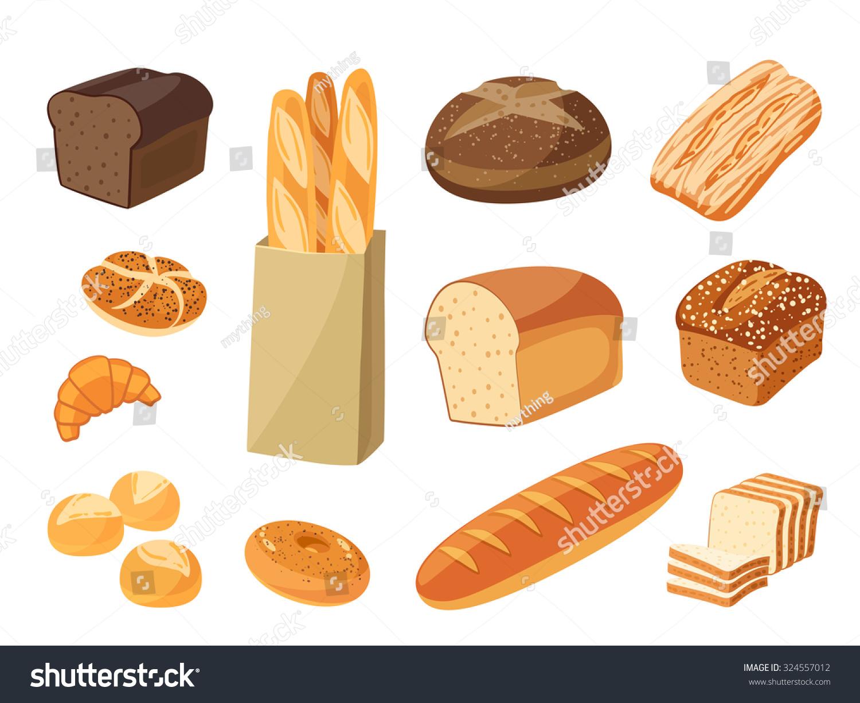 Set Cartoon Food Bread Rye Bread Stock Vector 324557012 ...